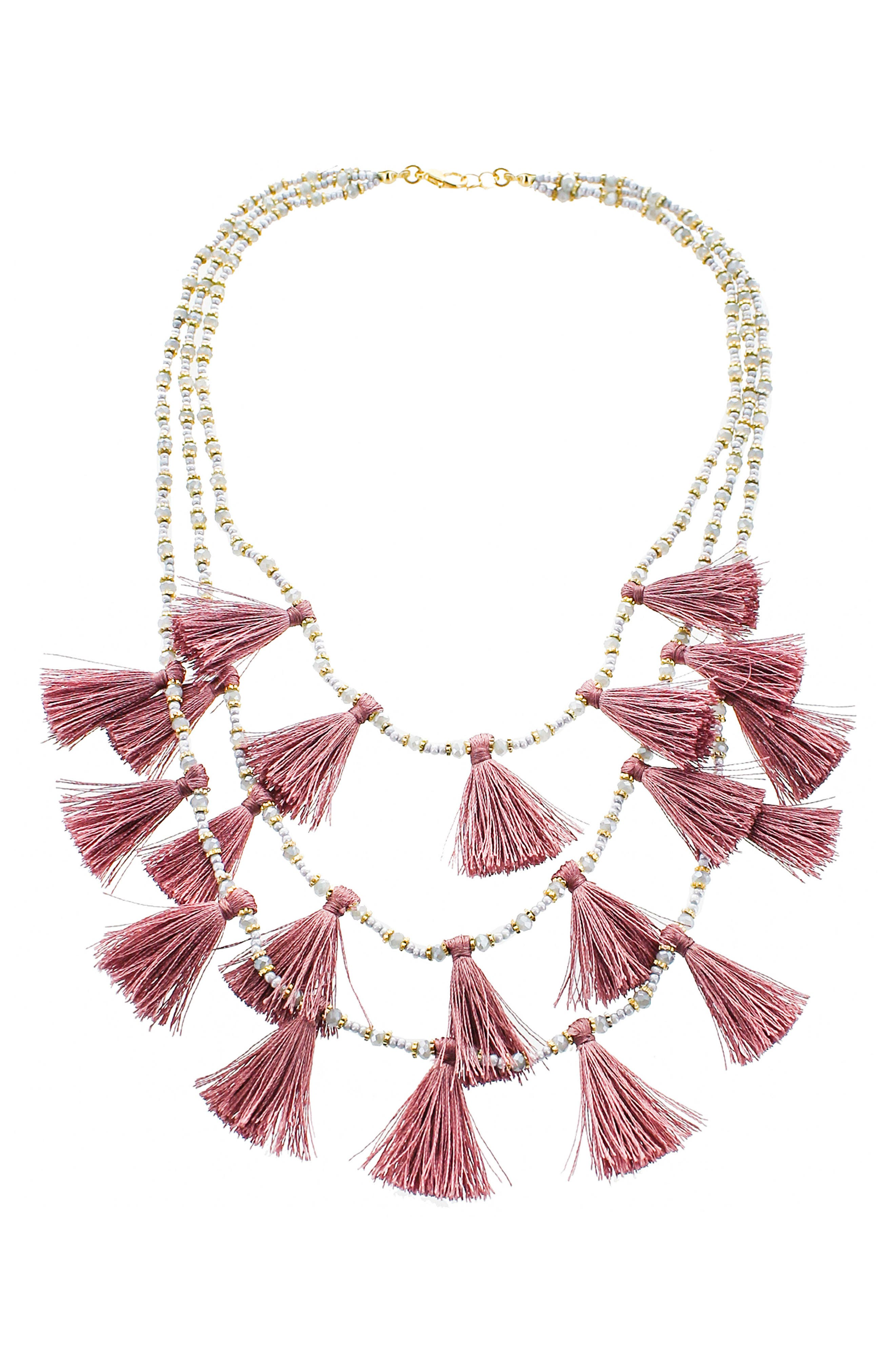 Tassel Statement Necklace,                         Main,                         color, 500