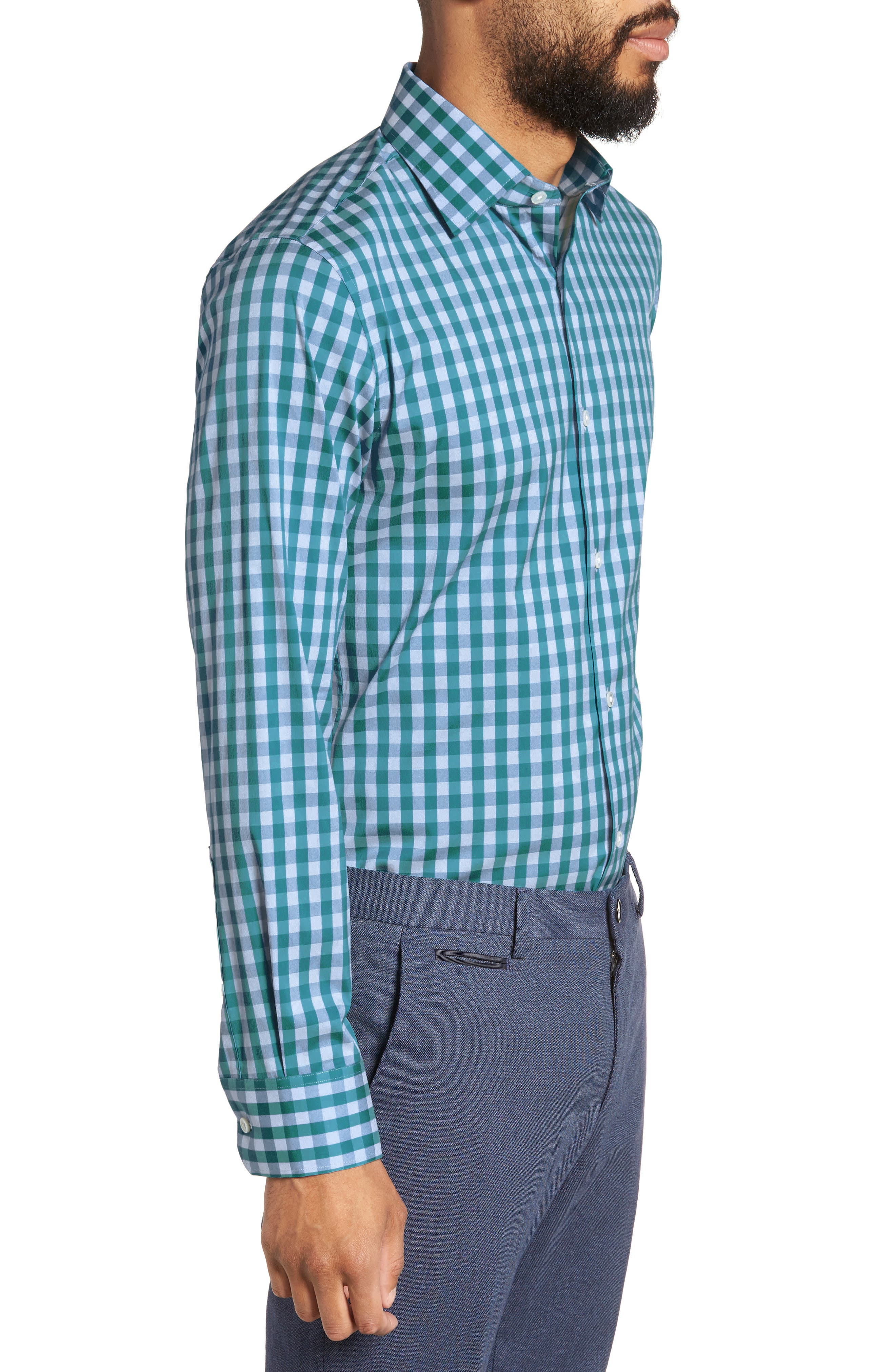 Port Grand Slim Fit Stretch Check Dress Shirt,                             Alternate thumbnail 4, color,                             TEAL