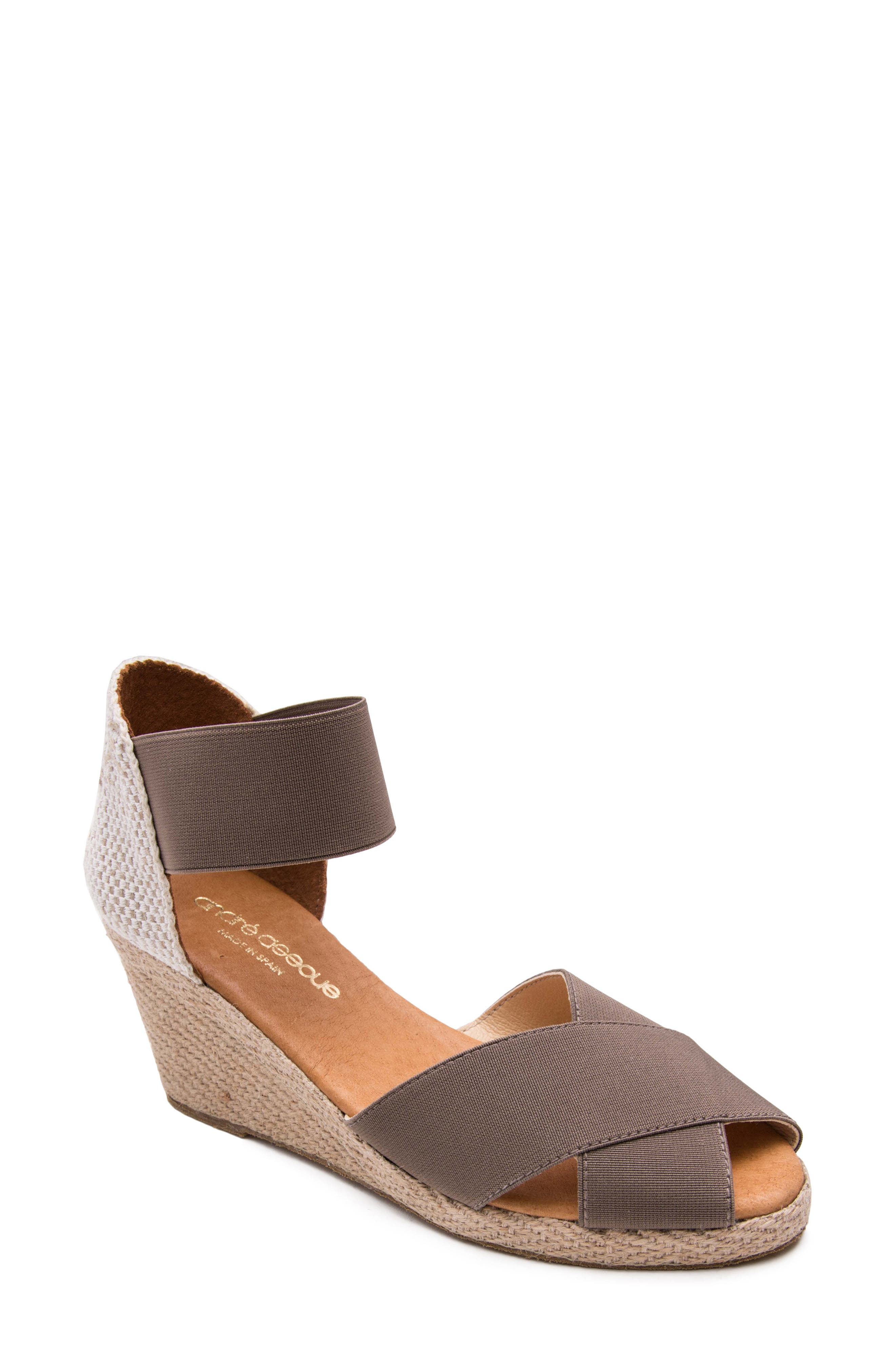 ANDRE ASSOUS Erika Espadrille Wedge in Taupe Fabric