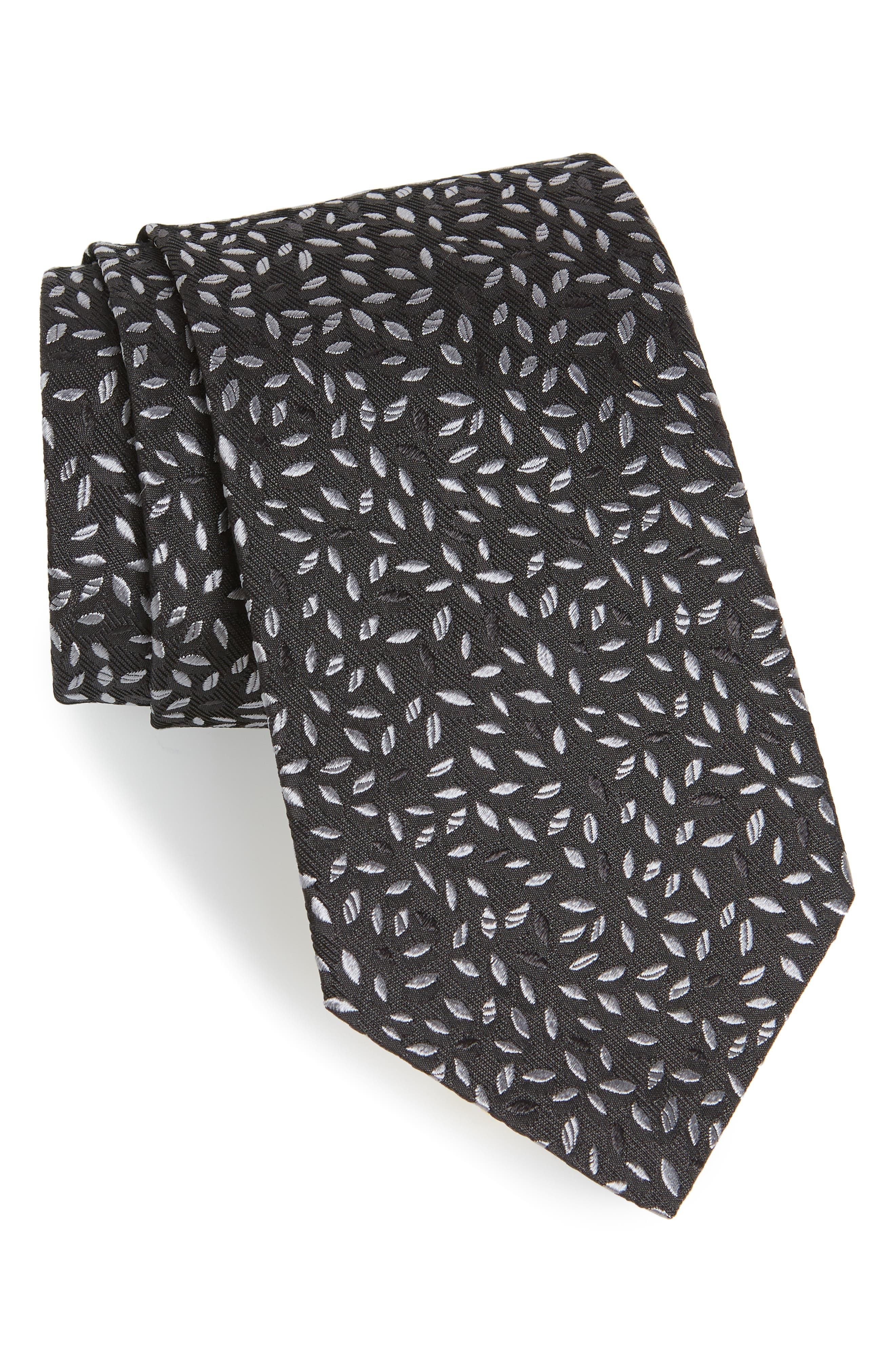 Leaves Silk Tie,                             Main thumbnail 1, color,                             001
