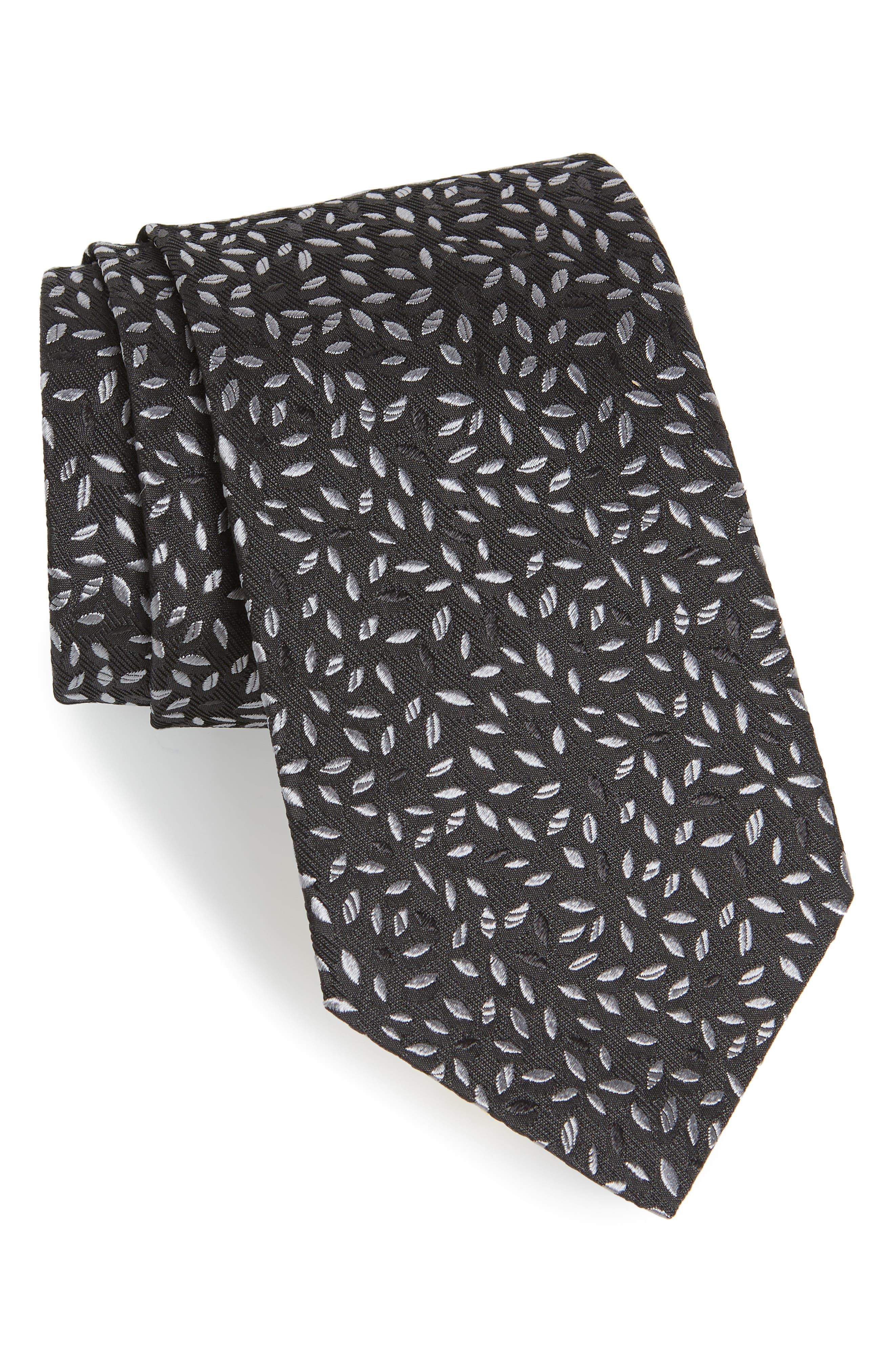 Leaves Silk Tie,                         Main,                         color, 001