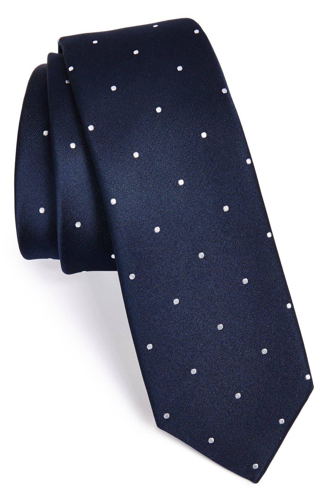 Woven Silk Tie,                         Main,                         color, NAVY