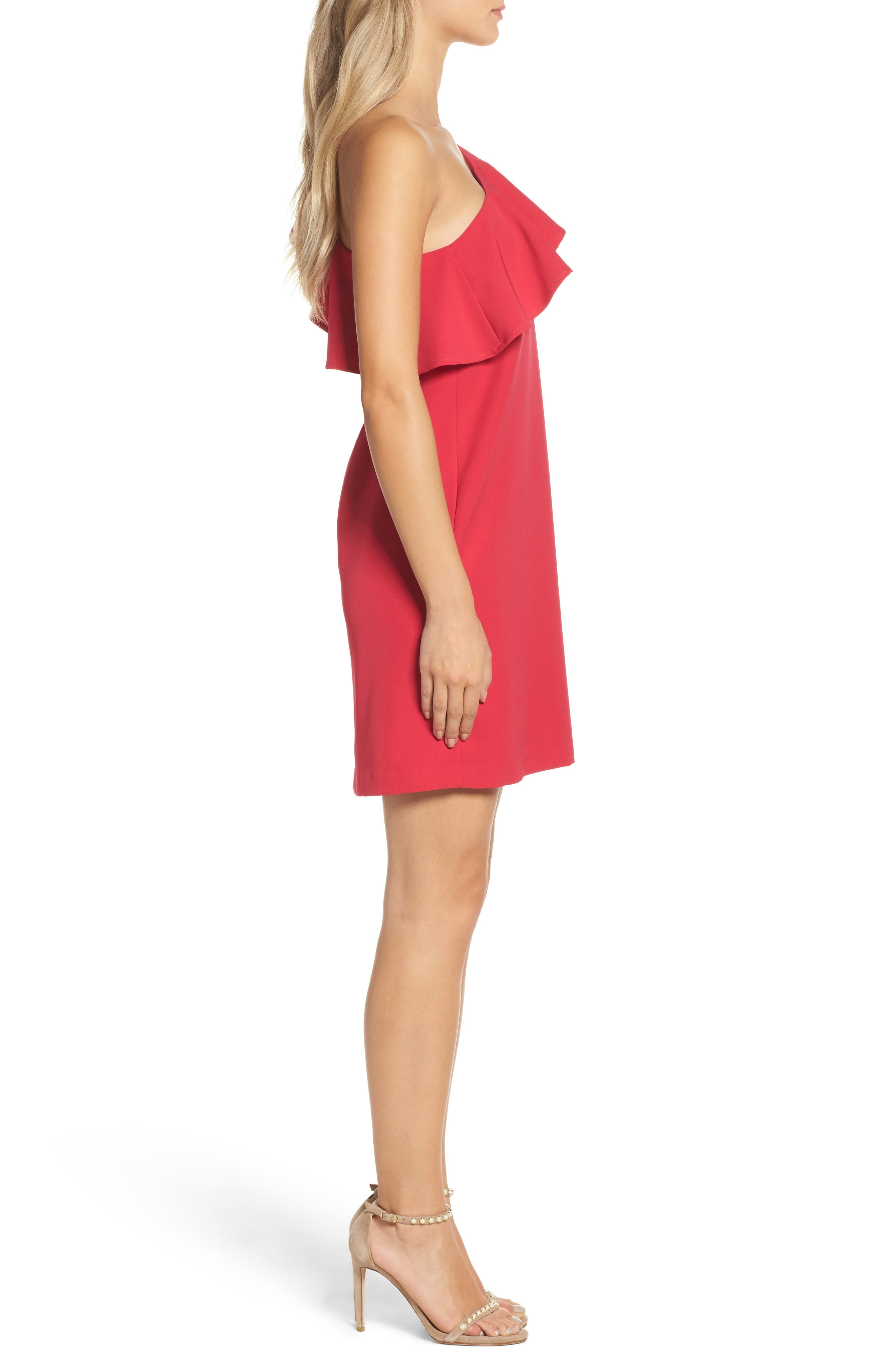 Ruffle One-Shoulder Dress,                             Alternate thumbnail 3, color,                             657
