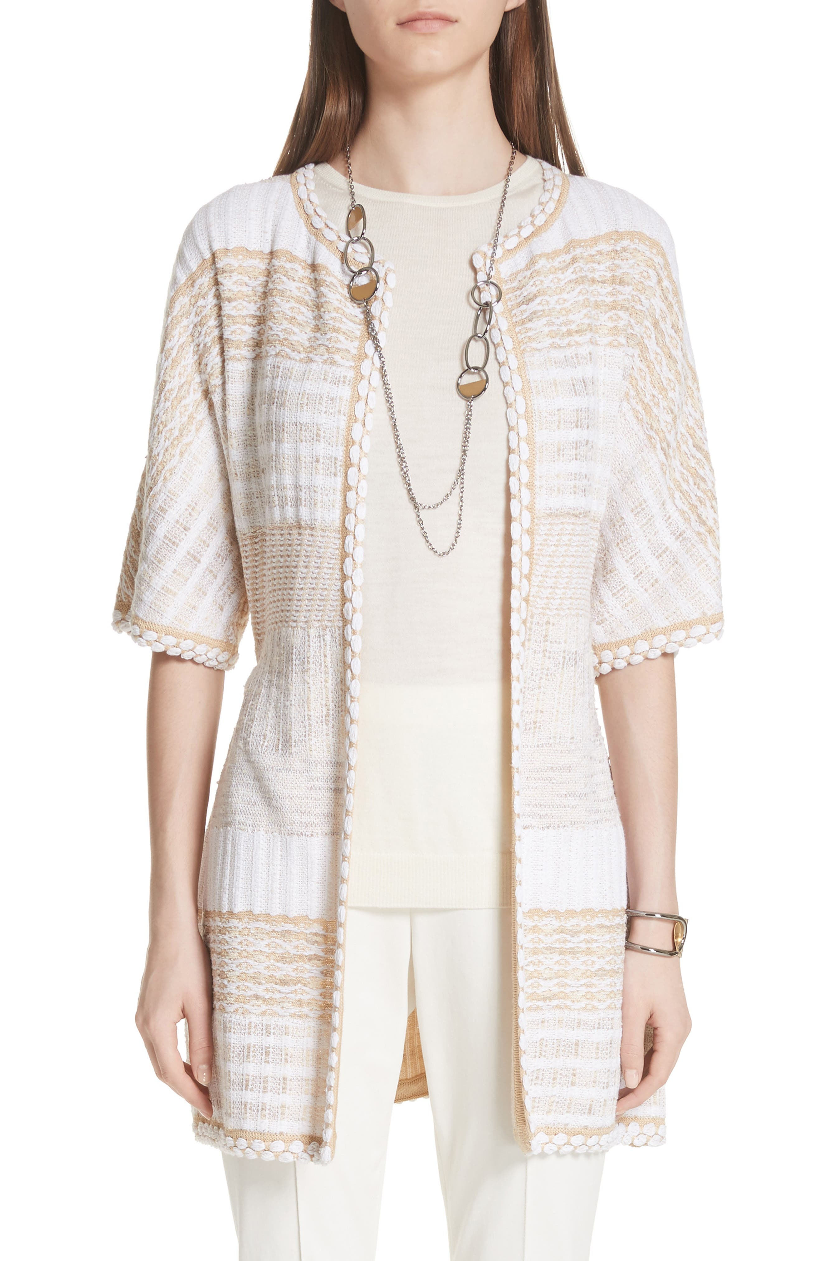 ST. JOHN COLLECTION Mixed Floats Stripe Knit Jacket, Main, color, 700