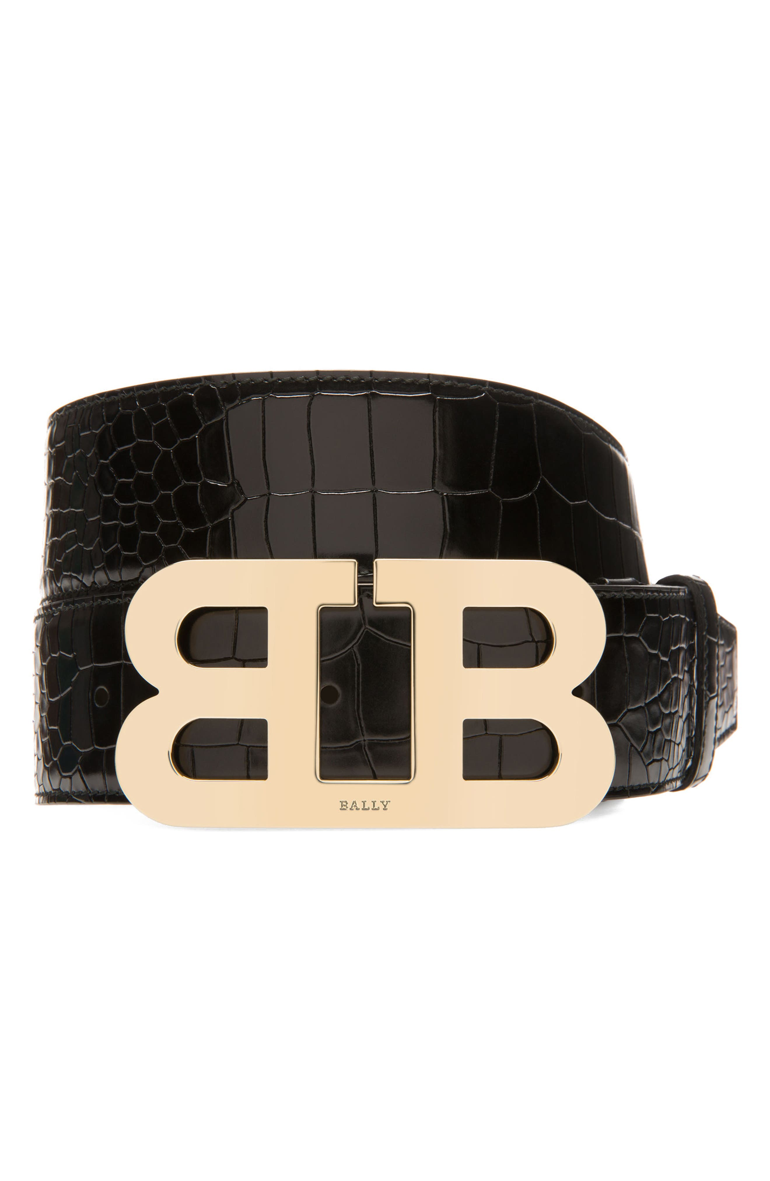Mirror Buckle Embossed Leather Belt,                             Main thumbnail 1, color,                             001