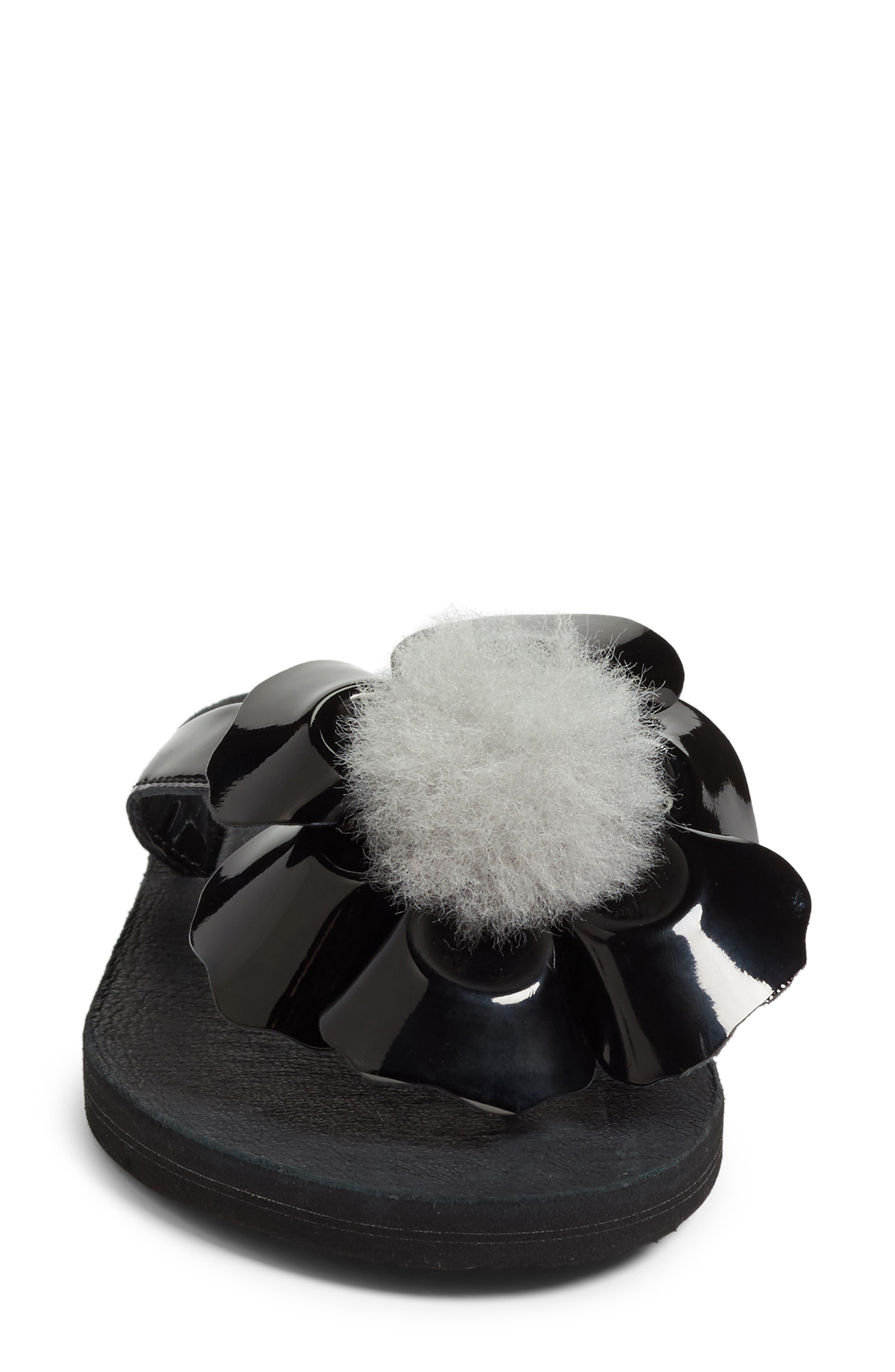 Poppy Genuine Shearling Pompom Flip Flop,                             Alternate thumbnail 4, color,                             001