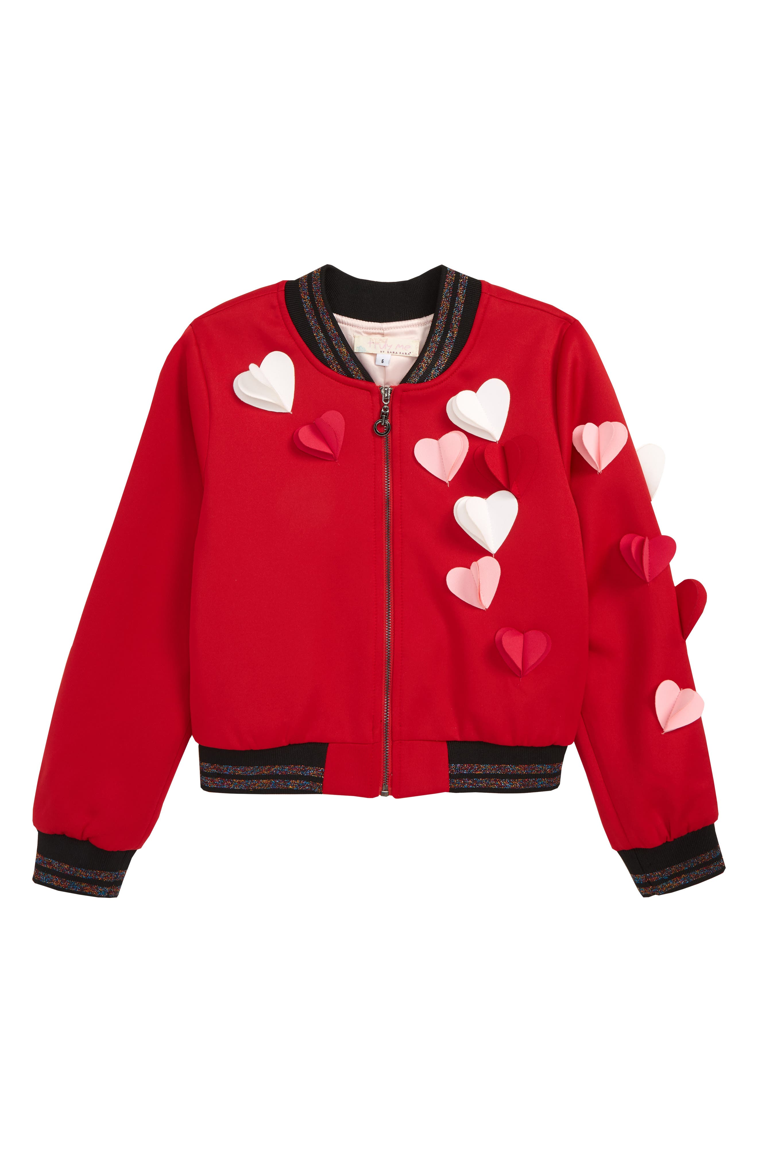 TRULY ME,                             Hearts a Flutter Bomber Jacket,                             Main thumbnail 1, color,                             RED