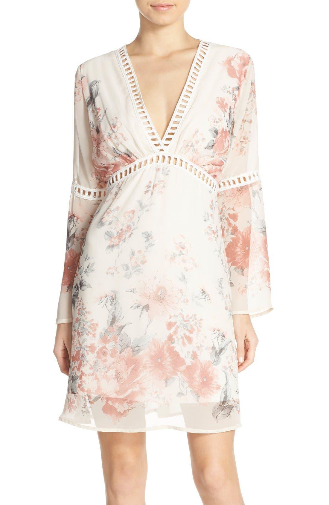 Floral Print Chiffon Blouson Dress,                         Main,                         color, 270