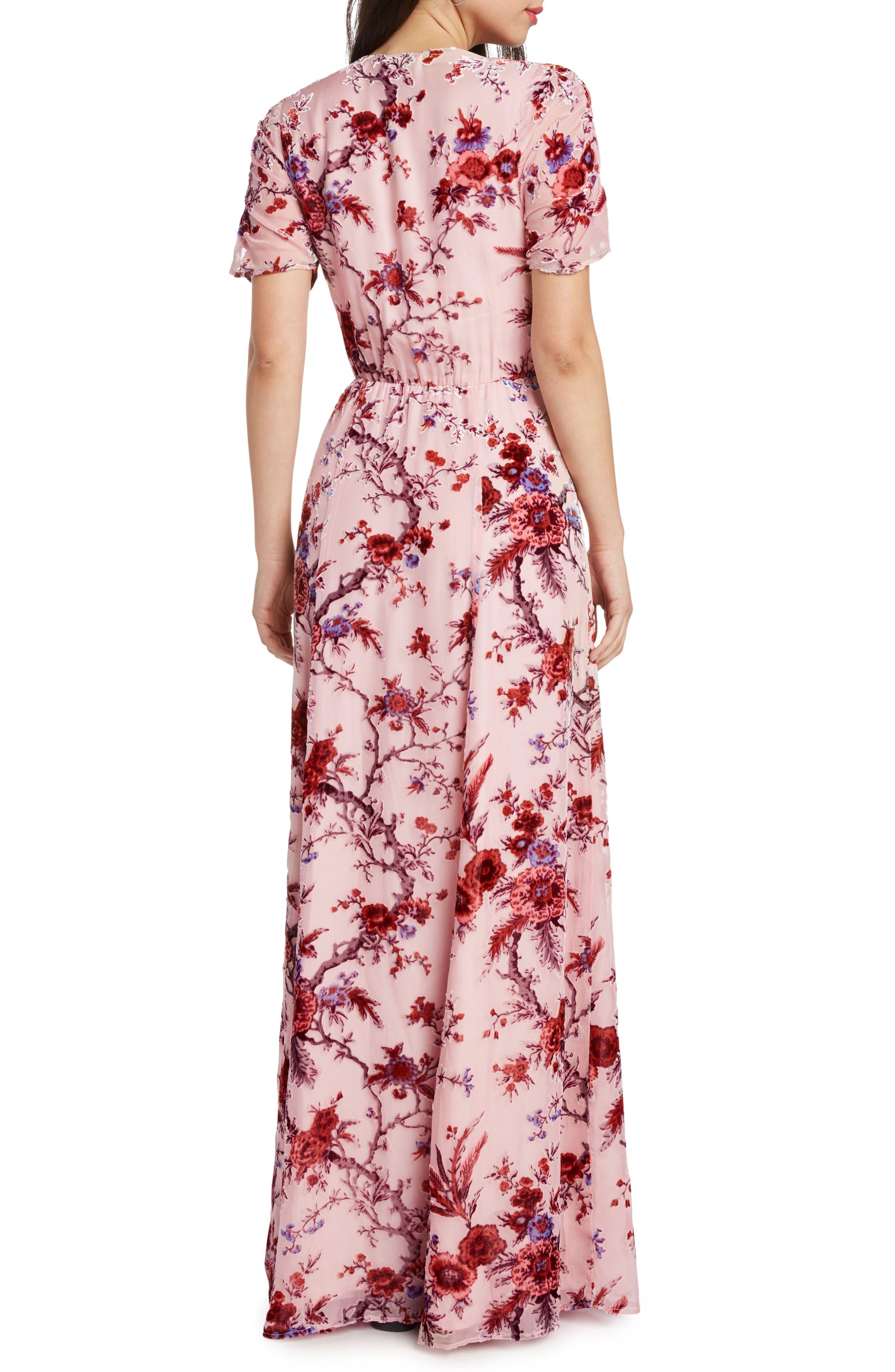 Floral Burnout Maxi Dress,                             Alternate thumbnail 2, color,                             ROSE
