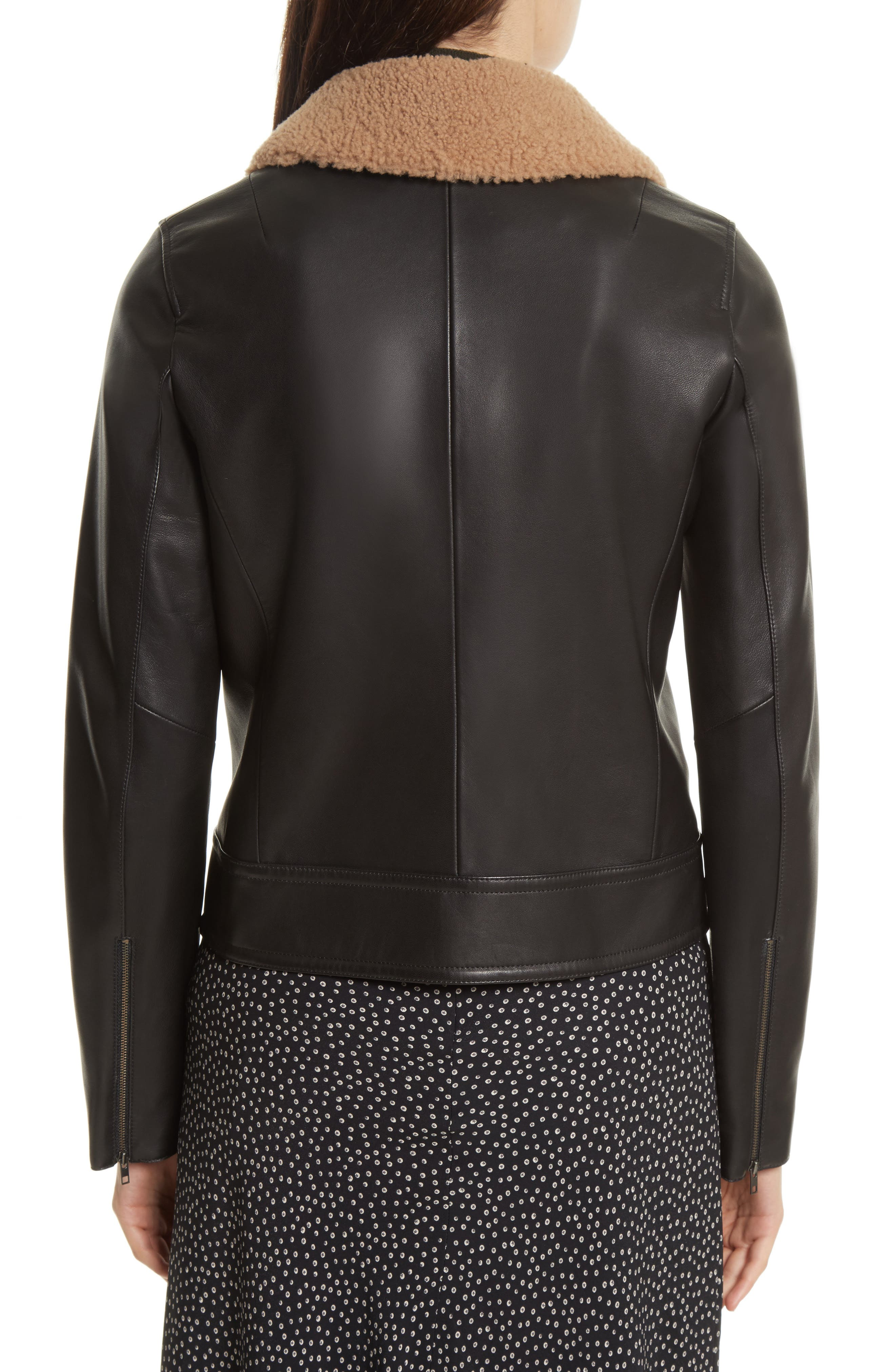 Leather Jacket with Genuine Shearling Trim,                             Alternate thumbnail 2, color,                             001