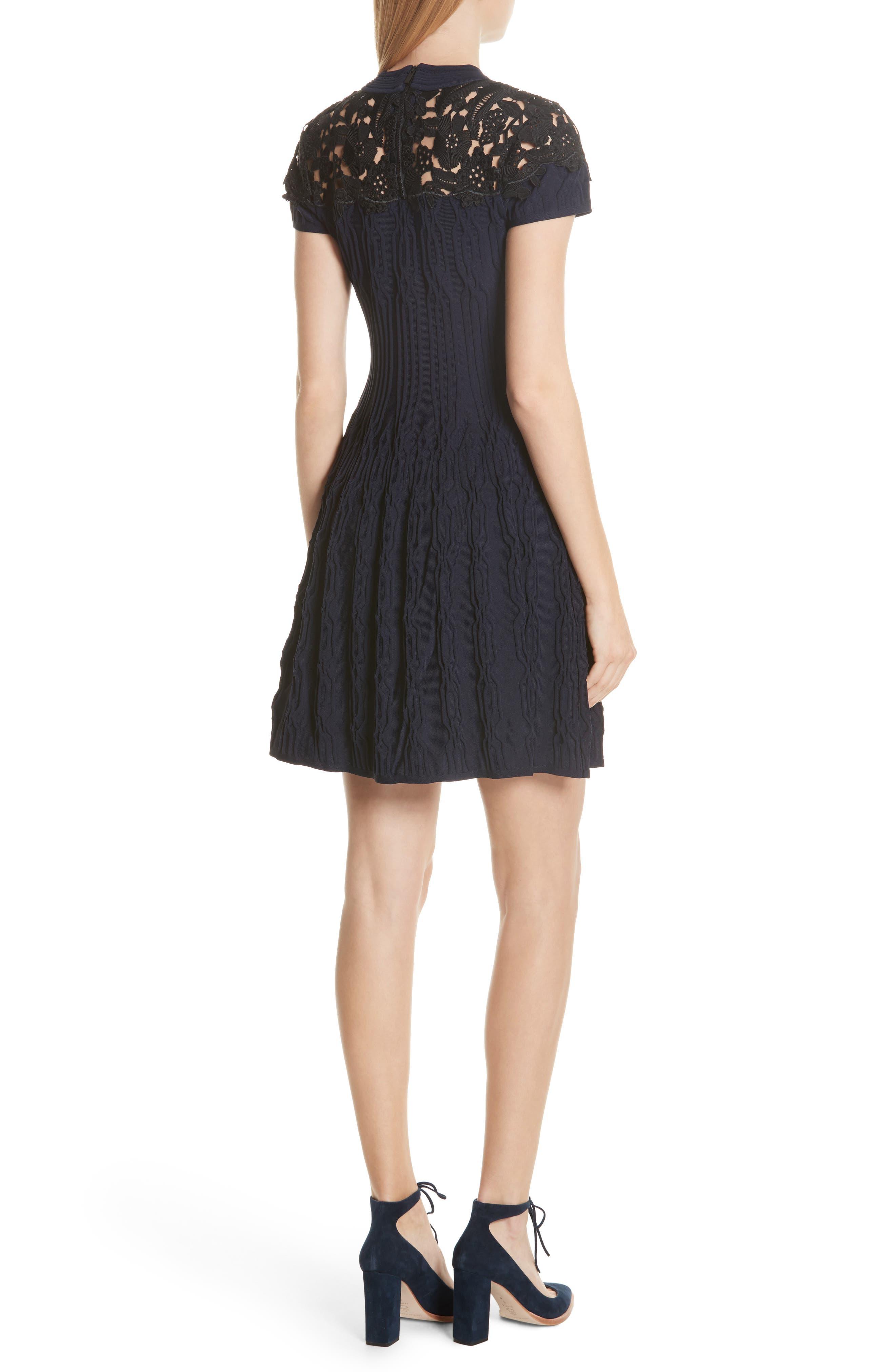Lace Yoke Dress,                             Alternate thumbnail 2, color,                             400