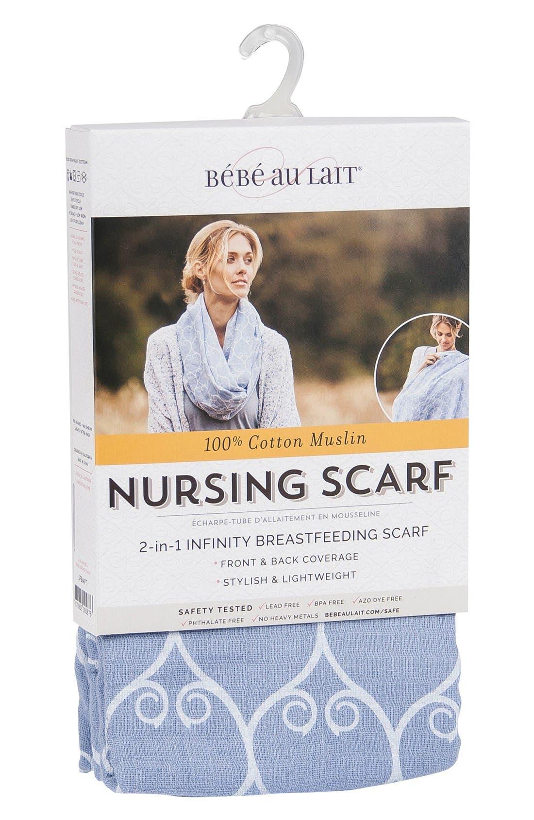 Muslin Infinity Nursing Scarf,                             Alternate thumbnail 4, color,                             BLUE/ WHITE