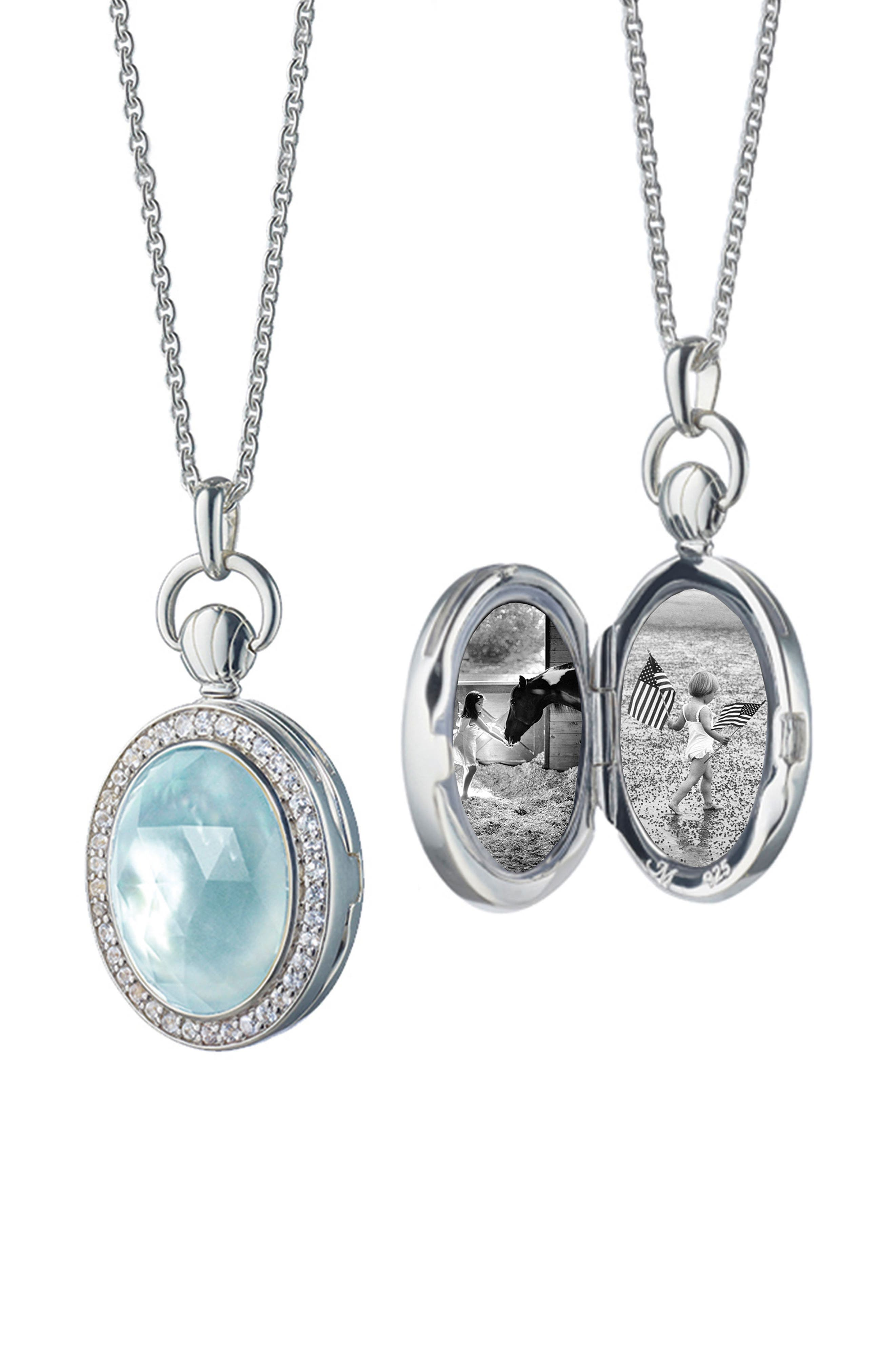 Oval Blue Topaz Petite Locket Necklace,                             Main thumbnail 1, color,                             STERLING SILVER