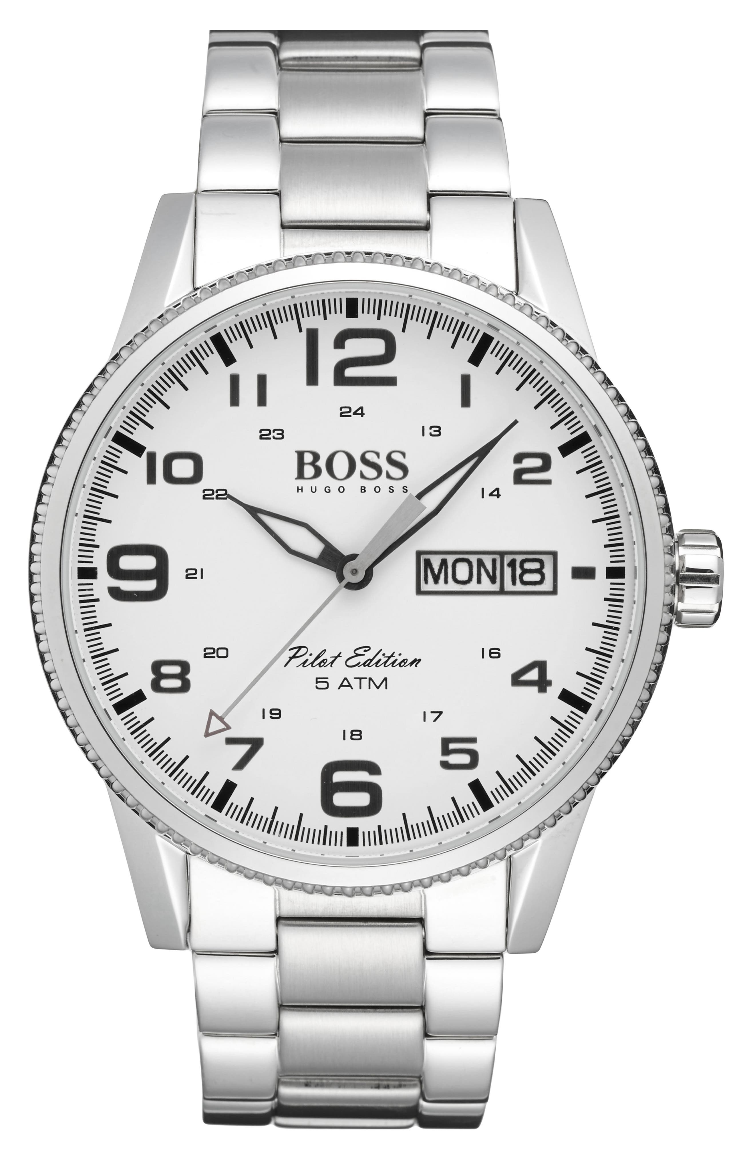 BOSS 'Pilot' Watch, 44mm,                             Alternate thumbnail 4, color,                             040