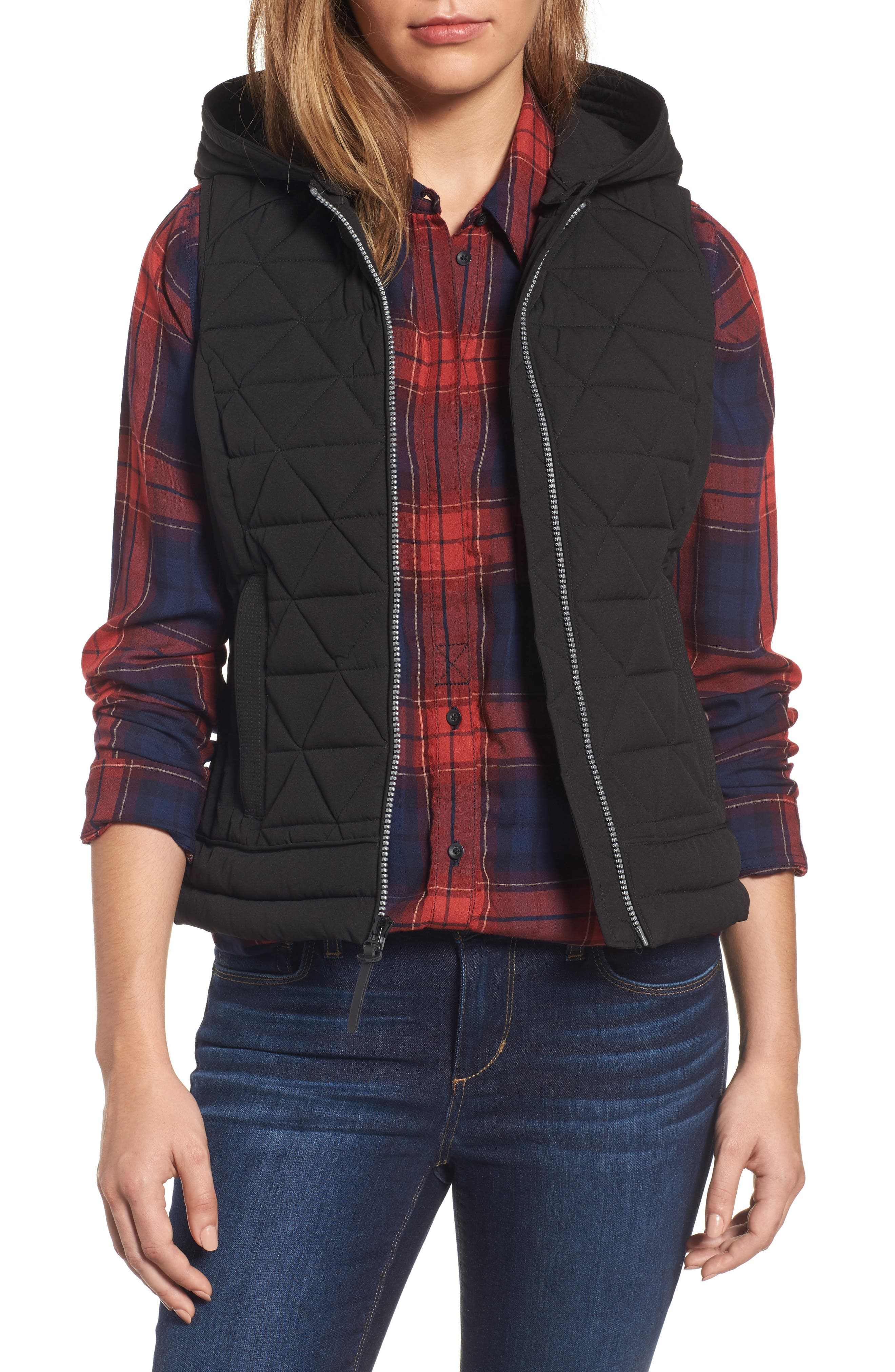Sage Hooded Quilted Vest,                             Main thumbnail 1, color,