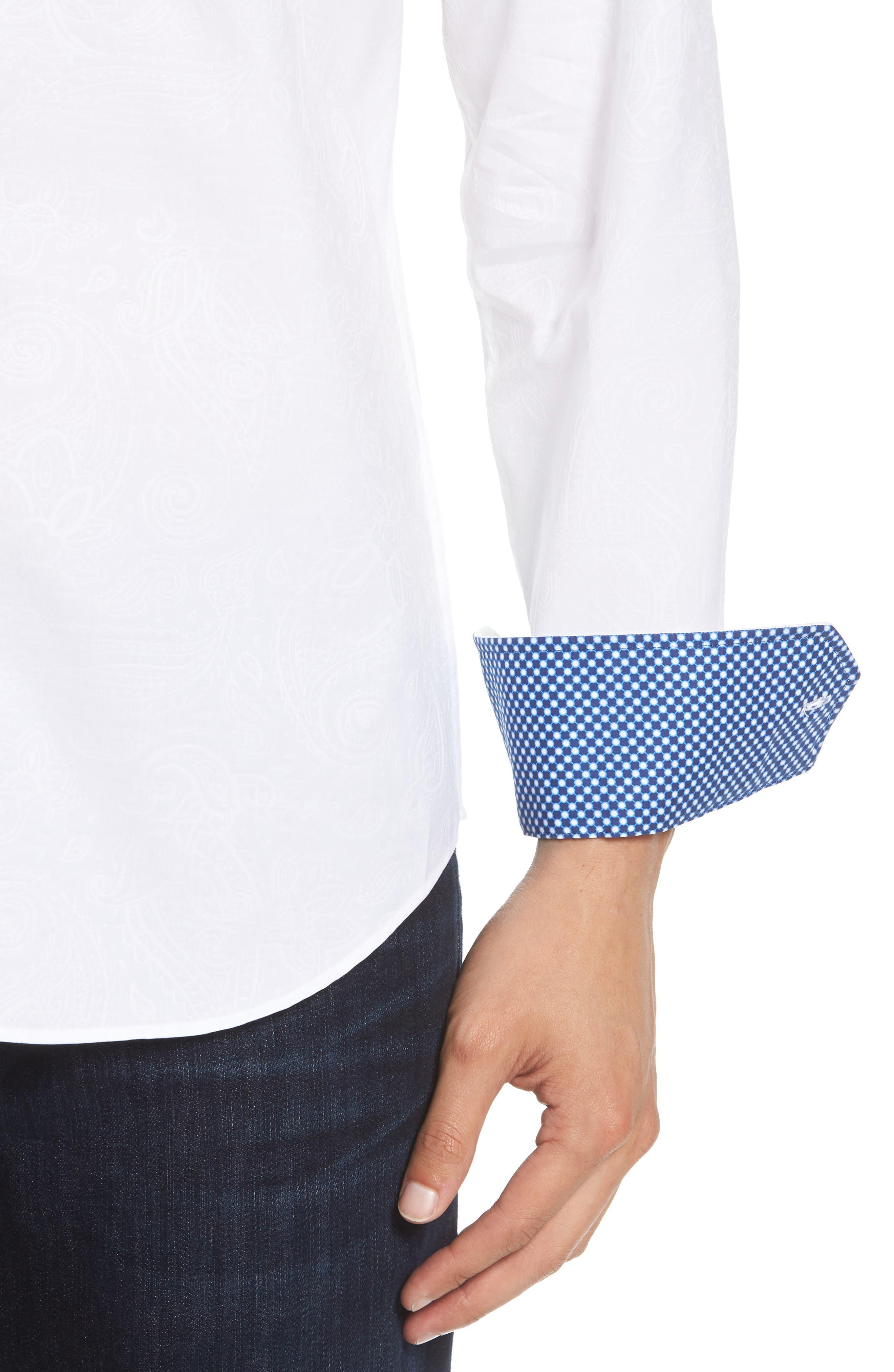 Shaped Fit Sport Shirt,                             Alternate thumbnail 4, color,                             WHITE