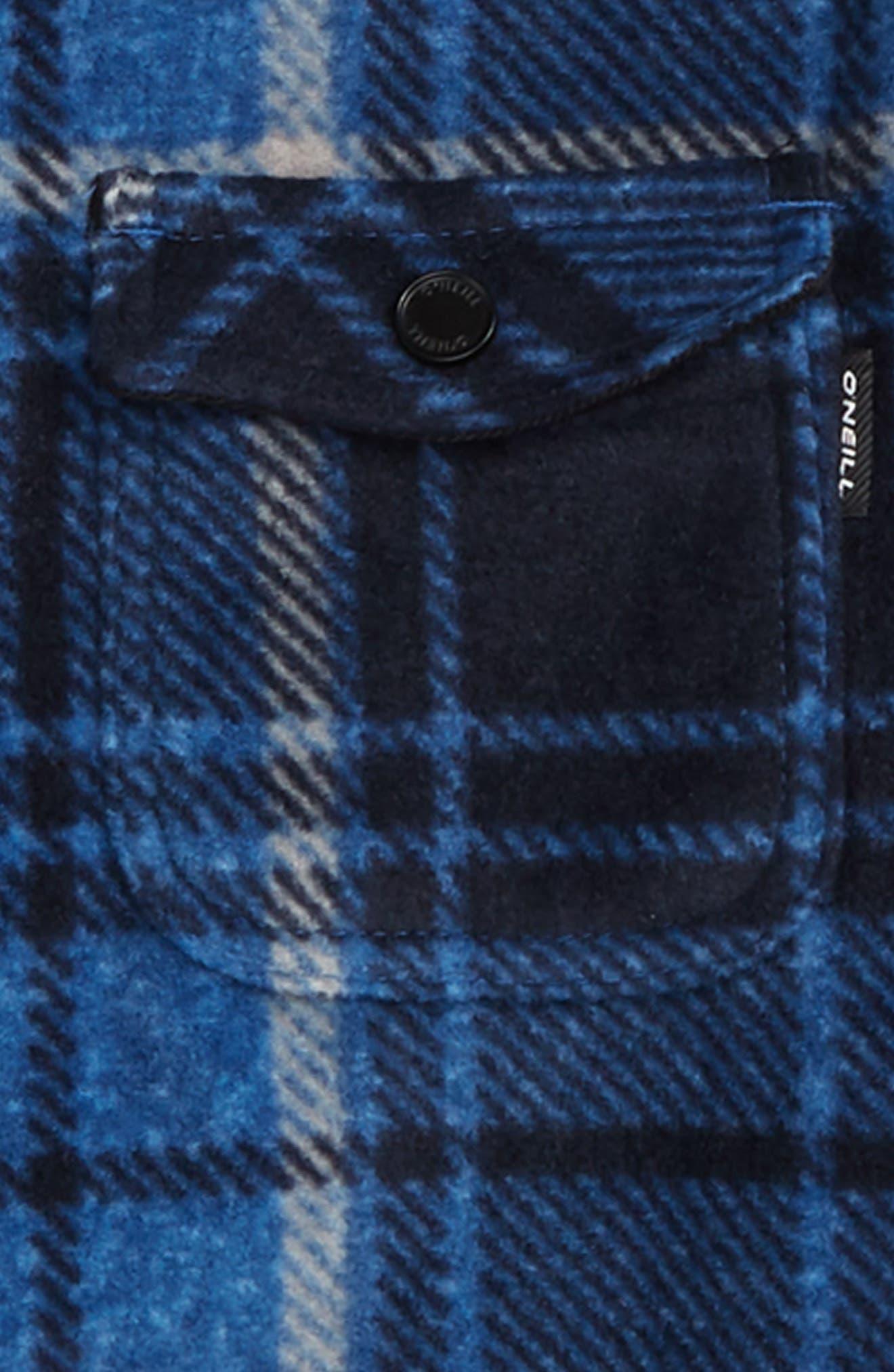 Glacier Plaid Super Fleece Shirt,                             Alternate thumbnail 2, color,                             DARK BLUE