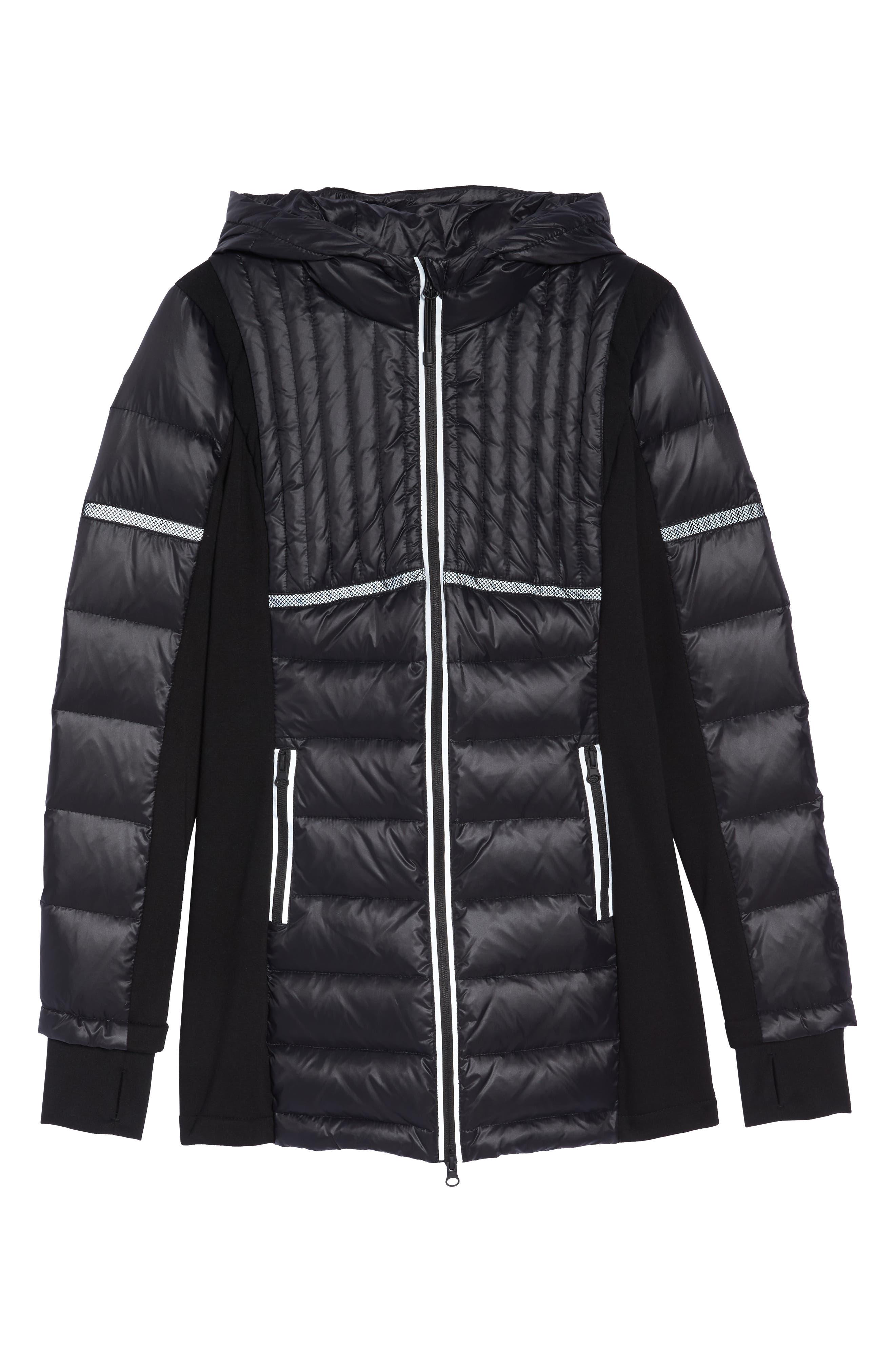 Reflective Down Puffer Jacket,                             Alternate thumbnail 6, color,                             BLACK/ BLACK