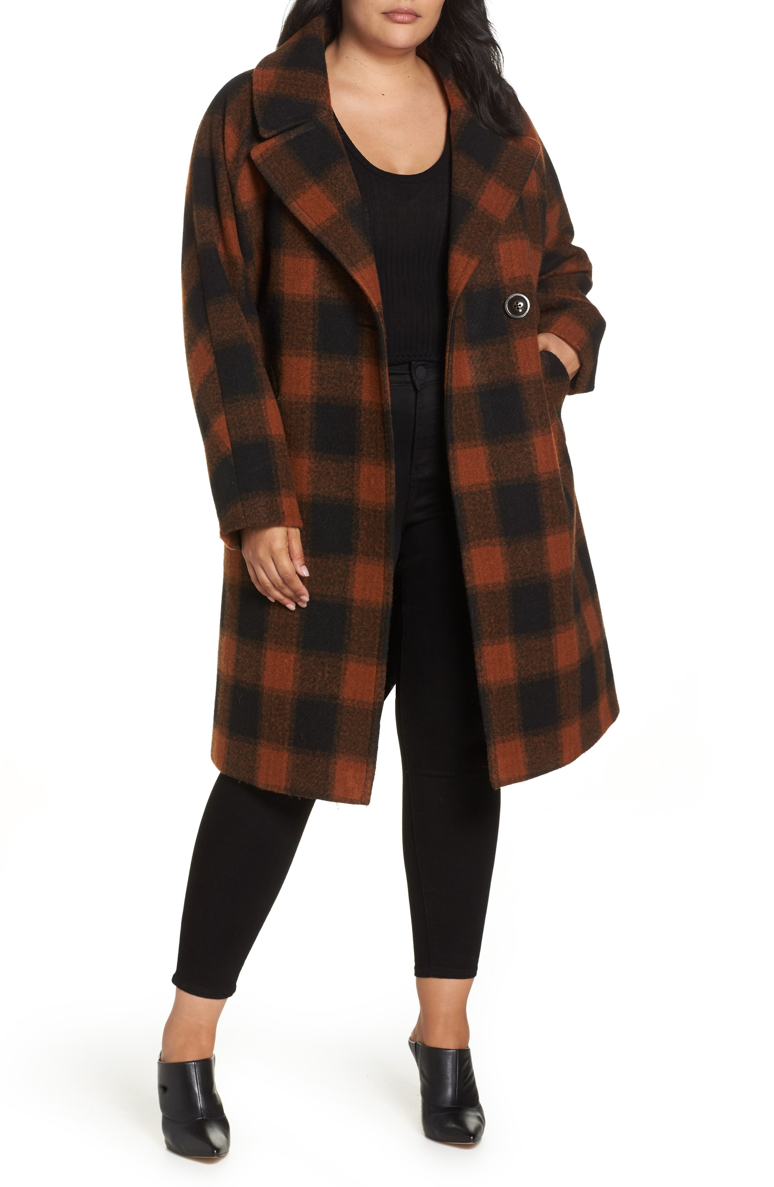 Oversize Boiled Wool Coat,                         Main,                         color, PLAID