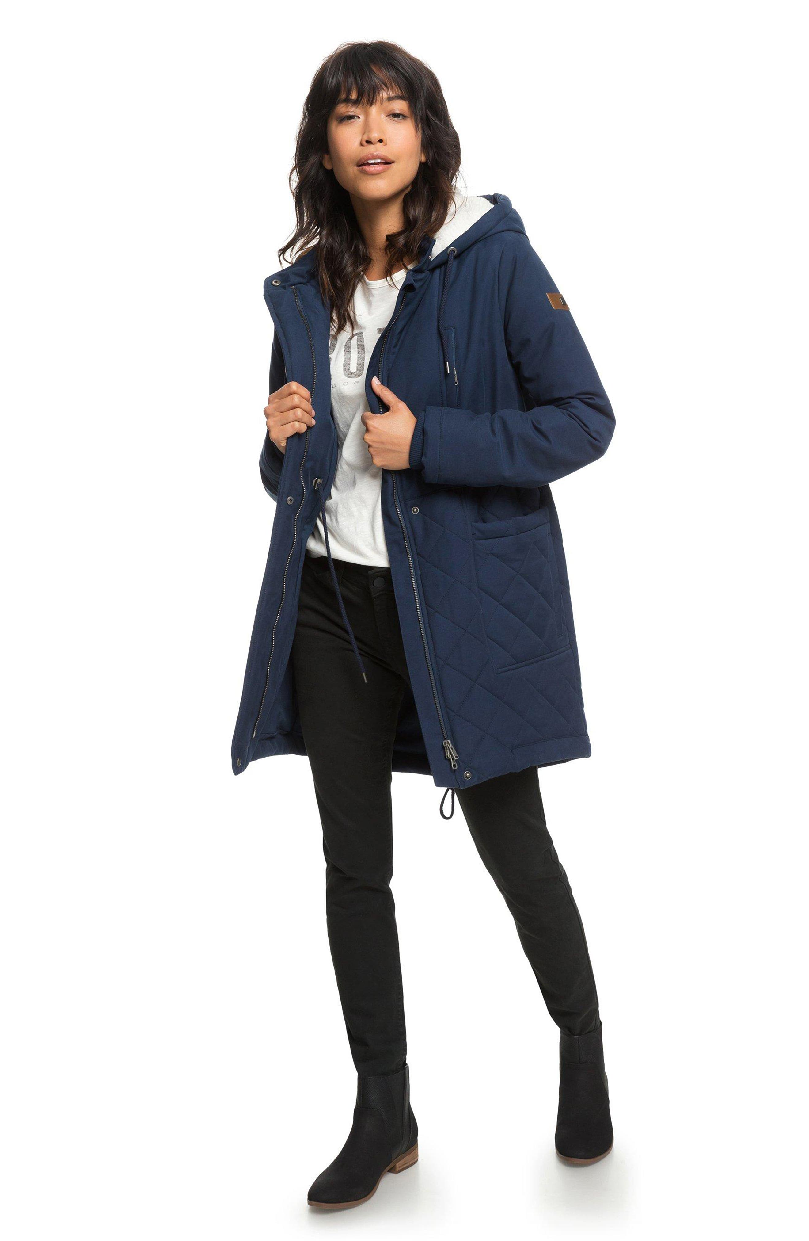 Slalom Chic Faux Shearling Trim Waterproof Parka,                             Alternate thumbnail 6, color,                             DRESS BLUES