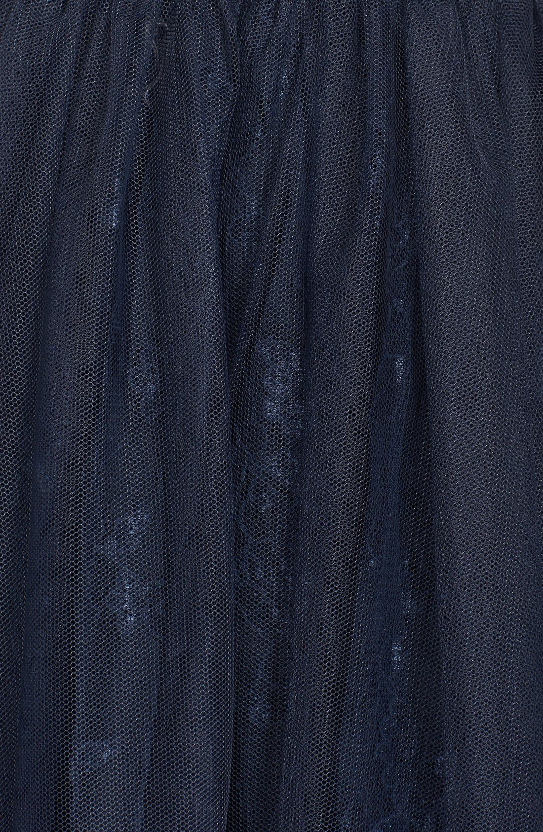 Tulle Overlay Lace Fit & Flare Dress,                             Alternate thumbnail 3, color,                             NAVY