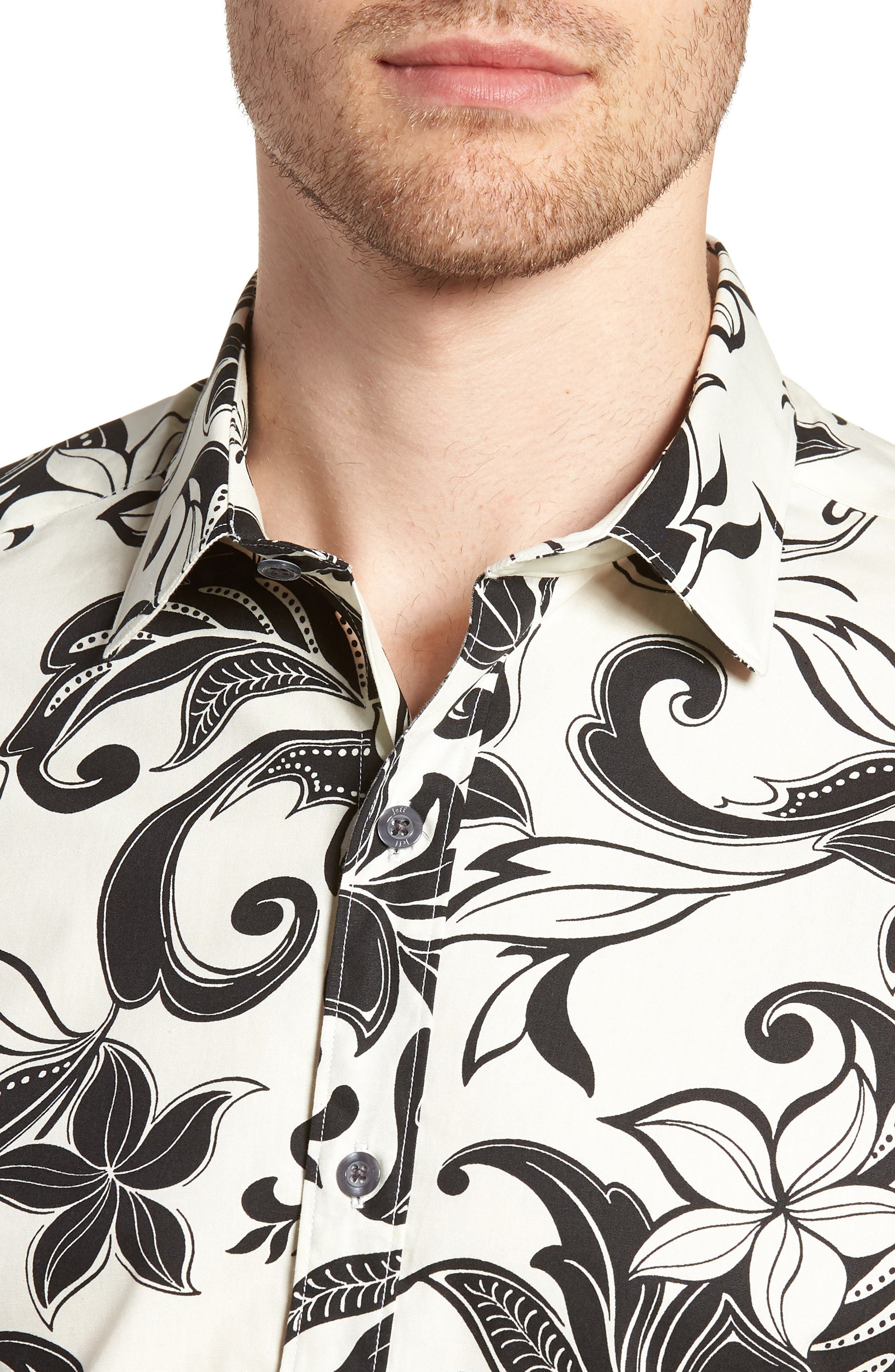 Odessa Tailored Fit Floral Sport Shirt,                             Alternate thumbnail 4, color,                             110