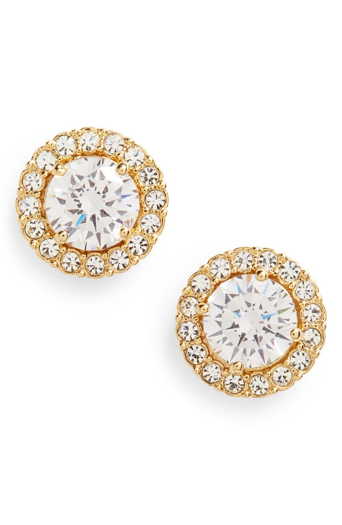Round Cubic Zirconia Stud Earrings,                         Main,                         color, GOLD/ CLEAR CRYSTAL