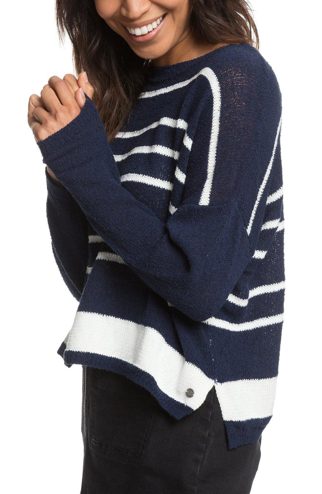 Variegated Stripe Boxy Sweater,                             Alternate thumbnail 3, color,                             400