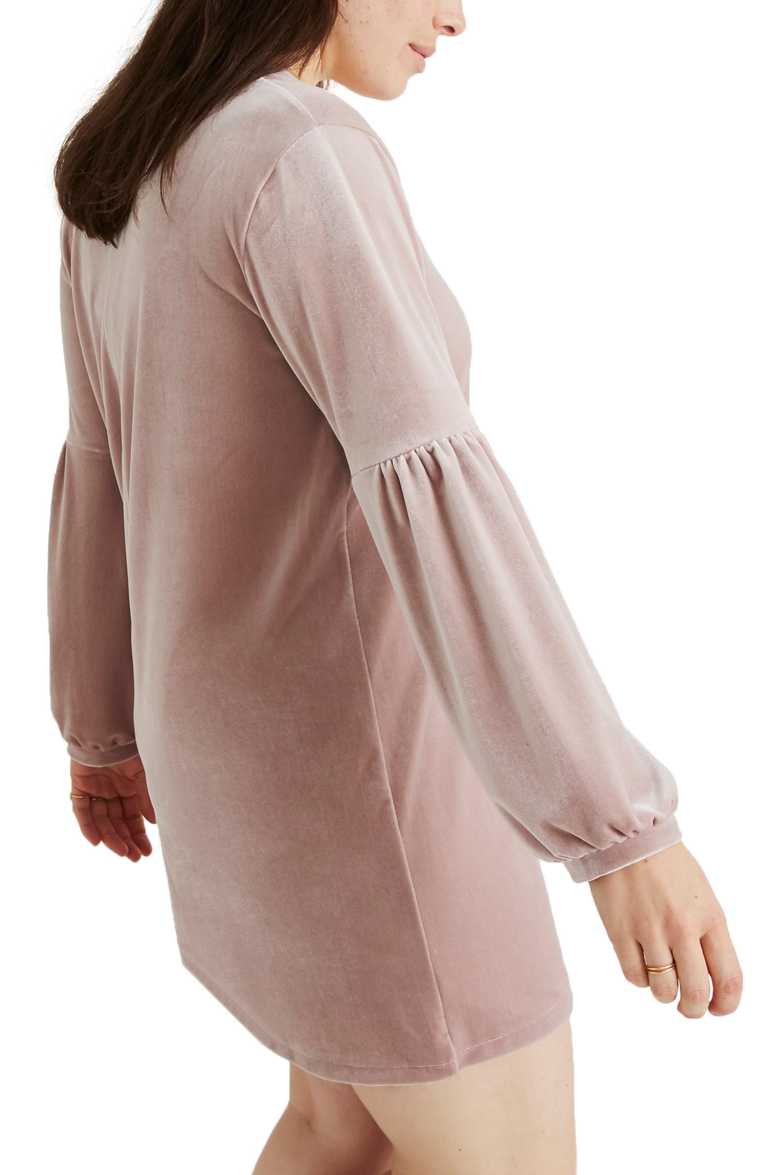 Balloon Sleeve Velvet Dress,                             Alternate thumbnail 8, color,                             WISTERIA DOVE