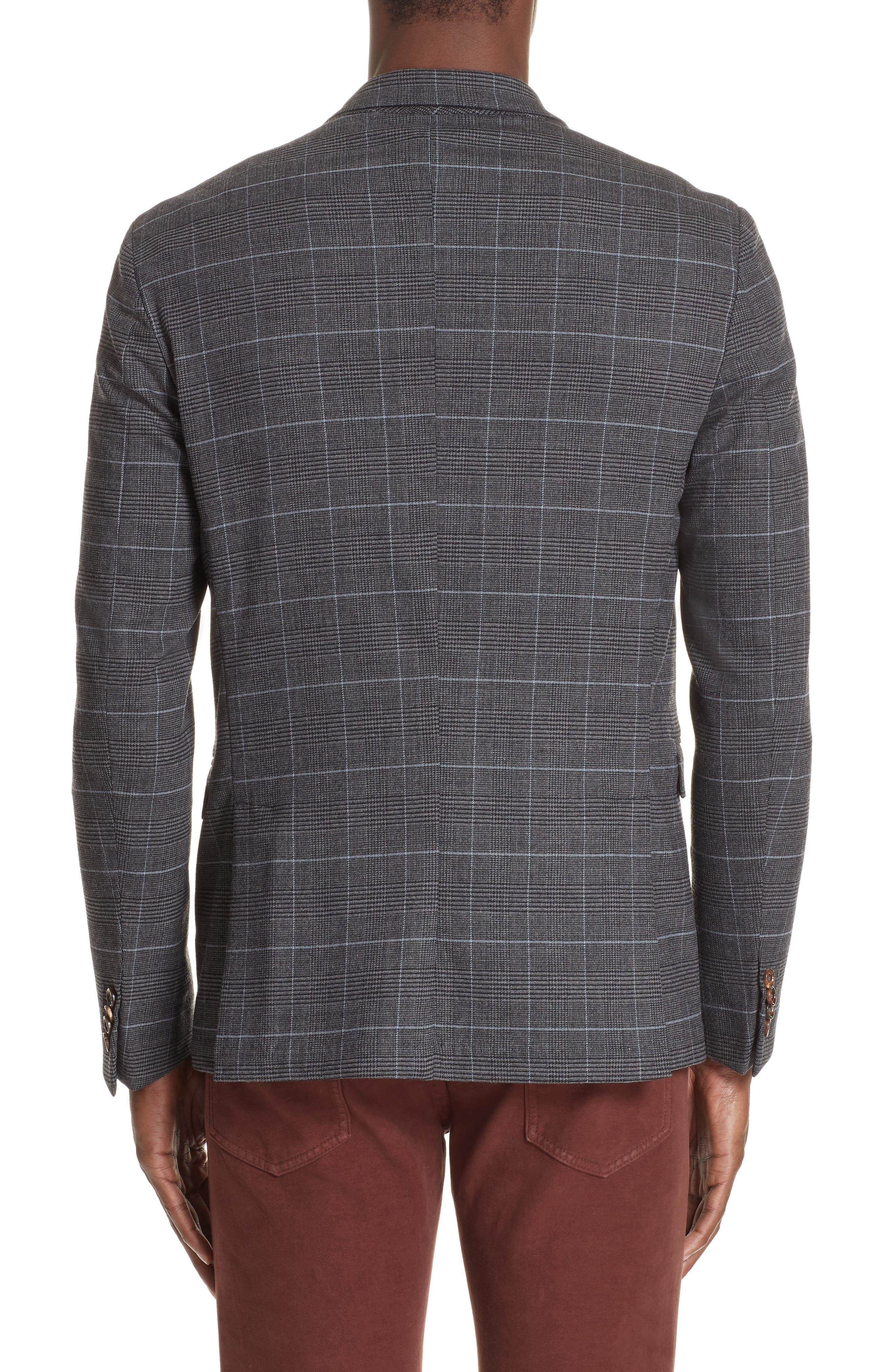 Trim Fit Stretch Plaid Wool Sport Coat,                             Alternate thumbnail 2, color,                             GREY