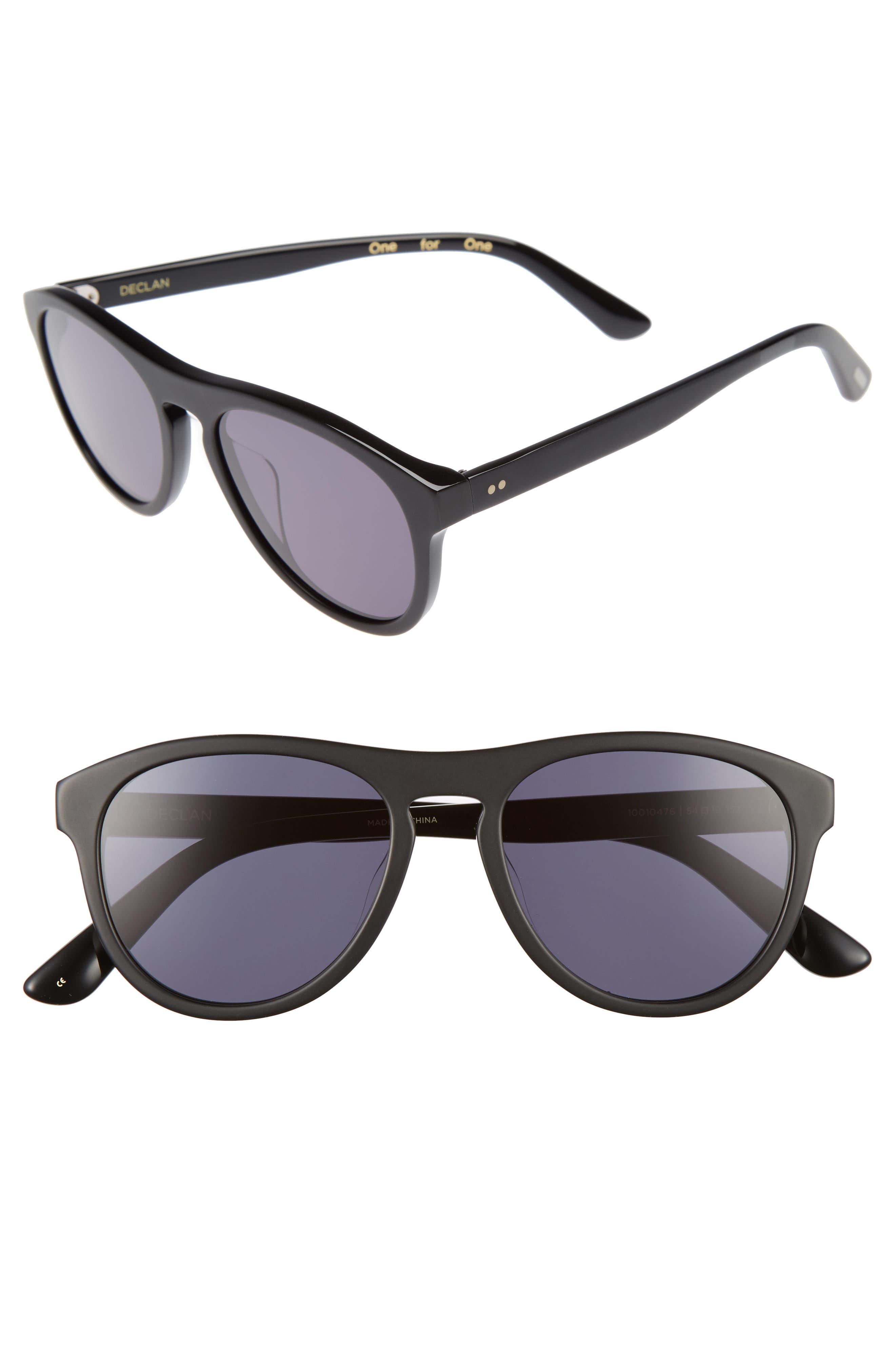 TOMS Declan 54mm Sunglasses, Main, color, MATTE BLACK