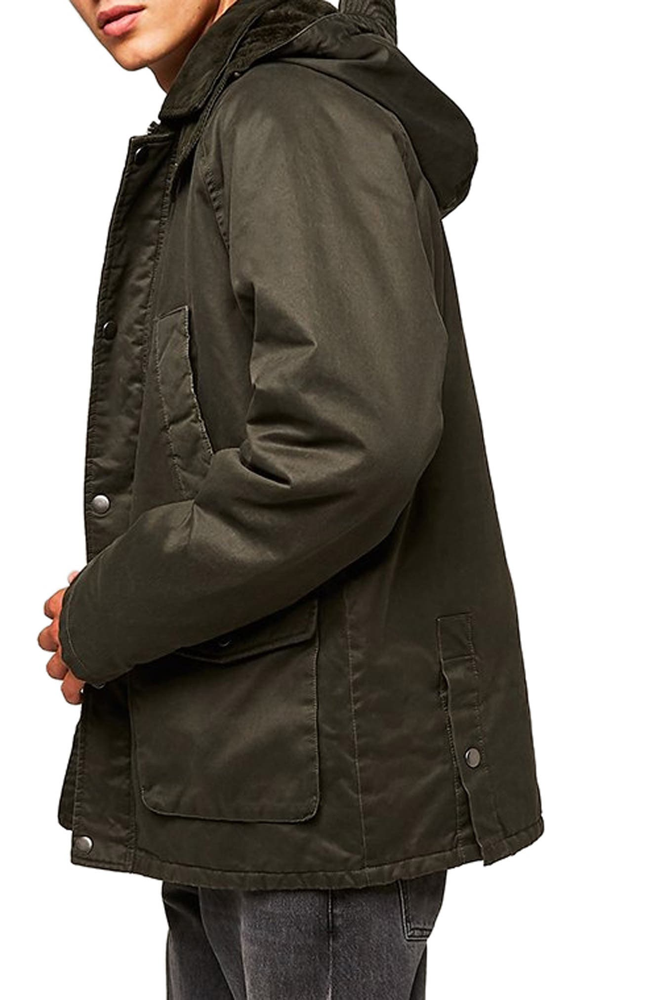 Cotton Blend Parka,                             Alternate thumbnail 3, color,                             OLIVE