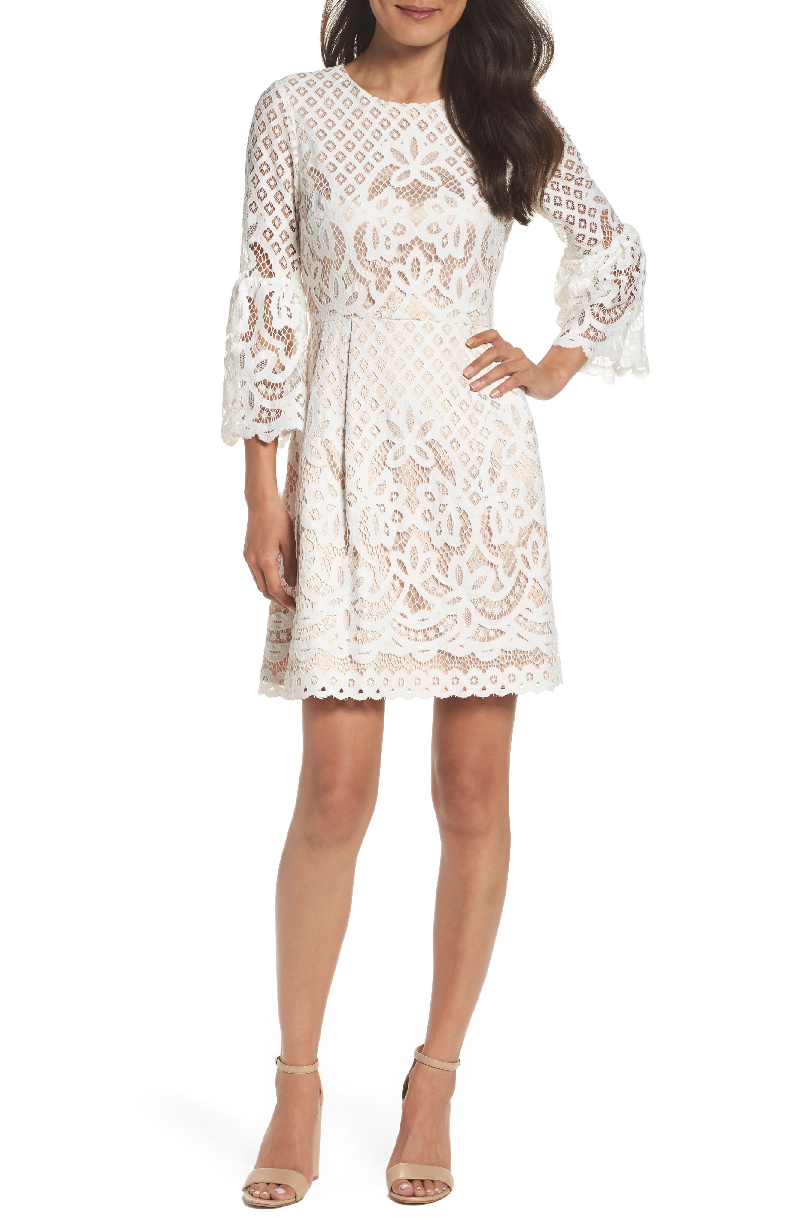Bell Sleeve Fit & Flare Dress,                             Alternate thumbnail 2, color,                             IVORY