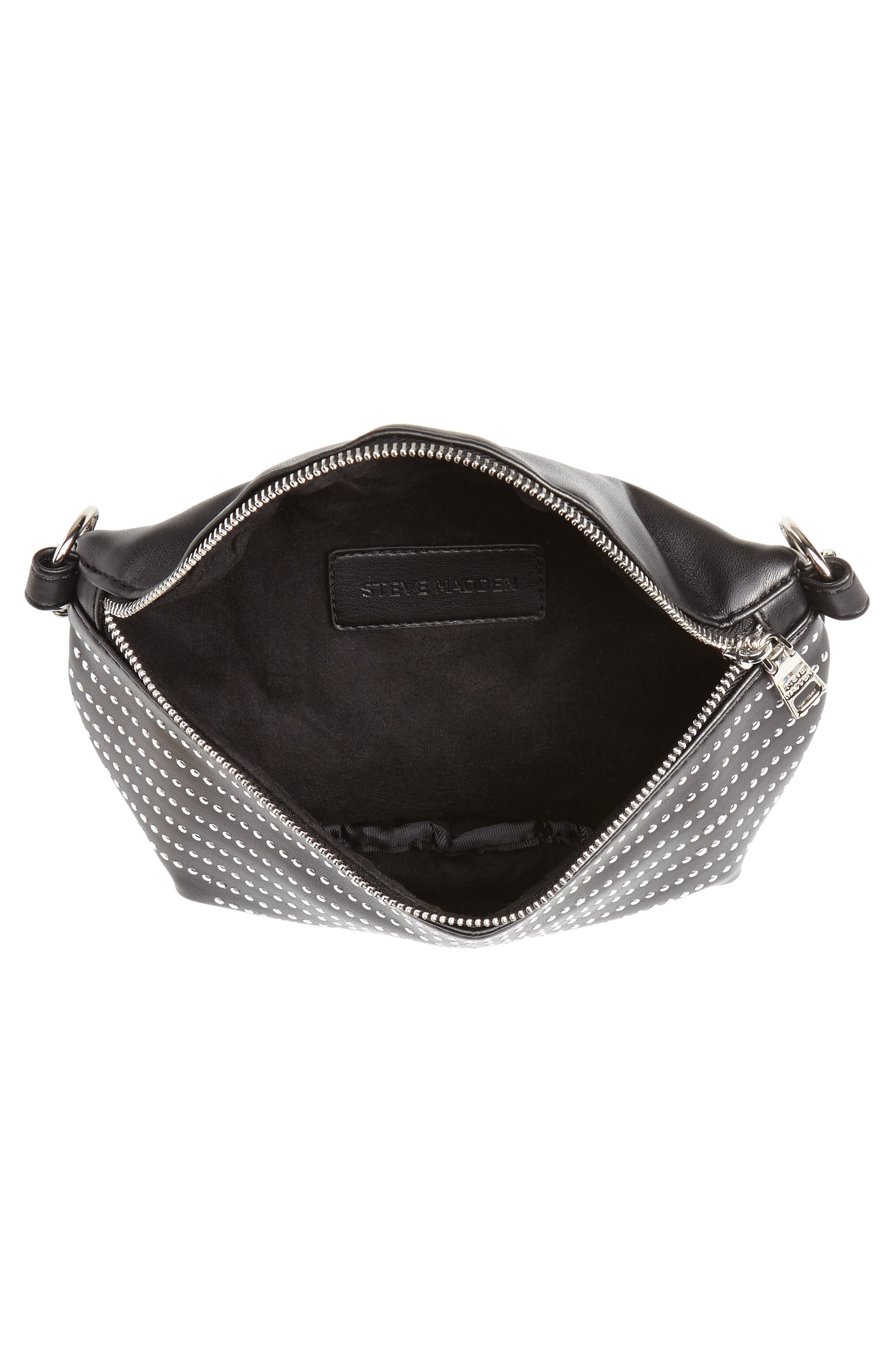 Quilted Faux Leather Fanny Pack,                             Alternate thumbnail 7, color,                             BLACK/ SILVER