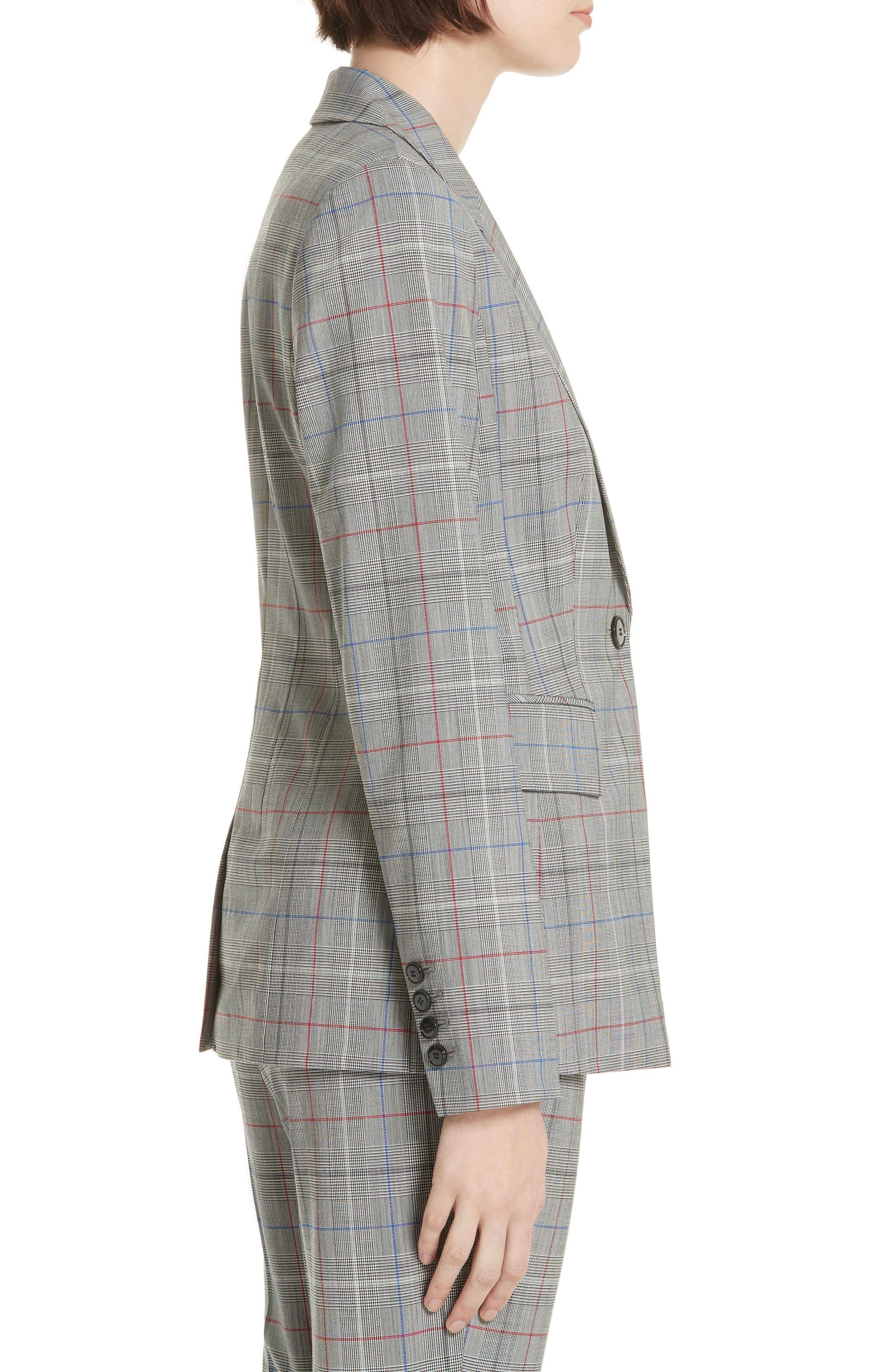 LEWIT,                             Check Stretch Wool Blazer,                             Alternate thumbnail 3, color,                             001