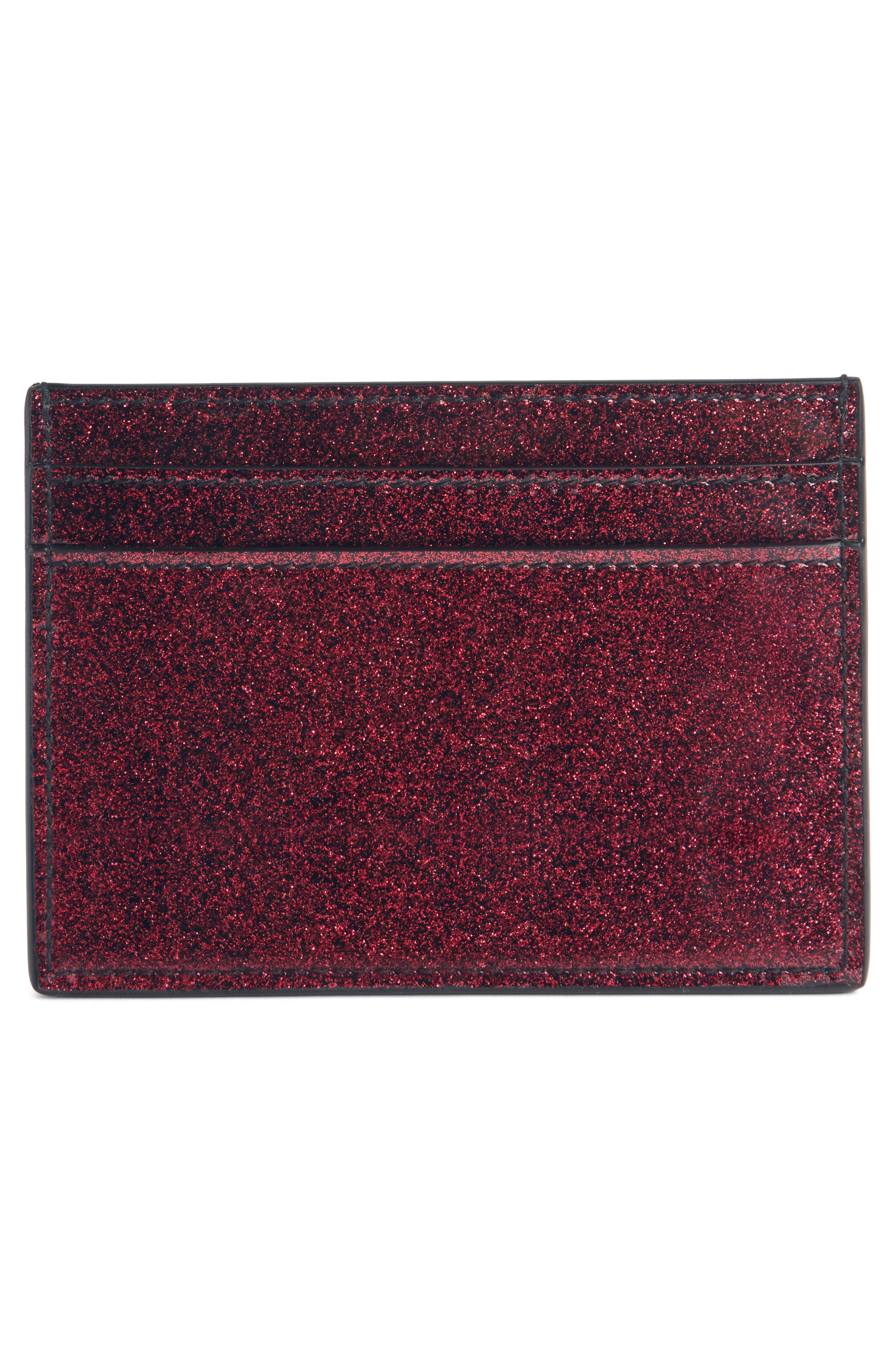 Monogram Vernis Glitter Calfskin Leather Card Case,                             Alternate thumbnail 2, color,                             SHOCKING PINK/ NOIR