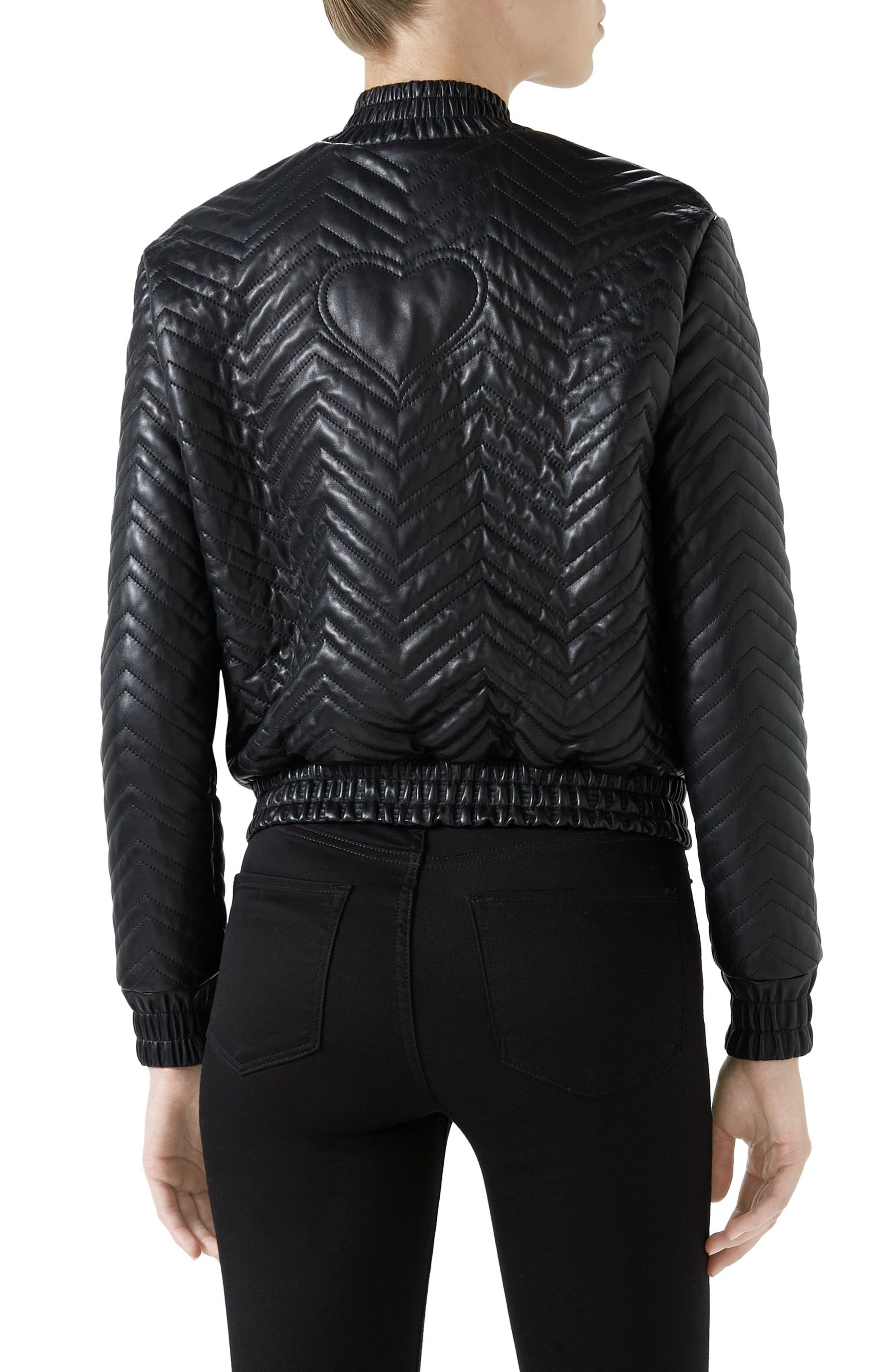 Quilted Leather Bomber Jacket,                             Alternate thumbnail 2, color,                             BLACK