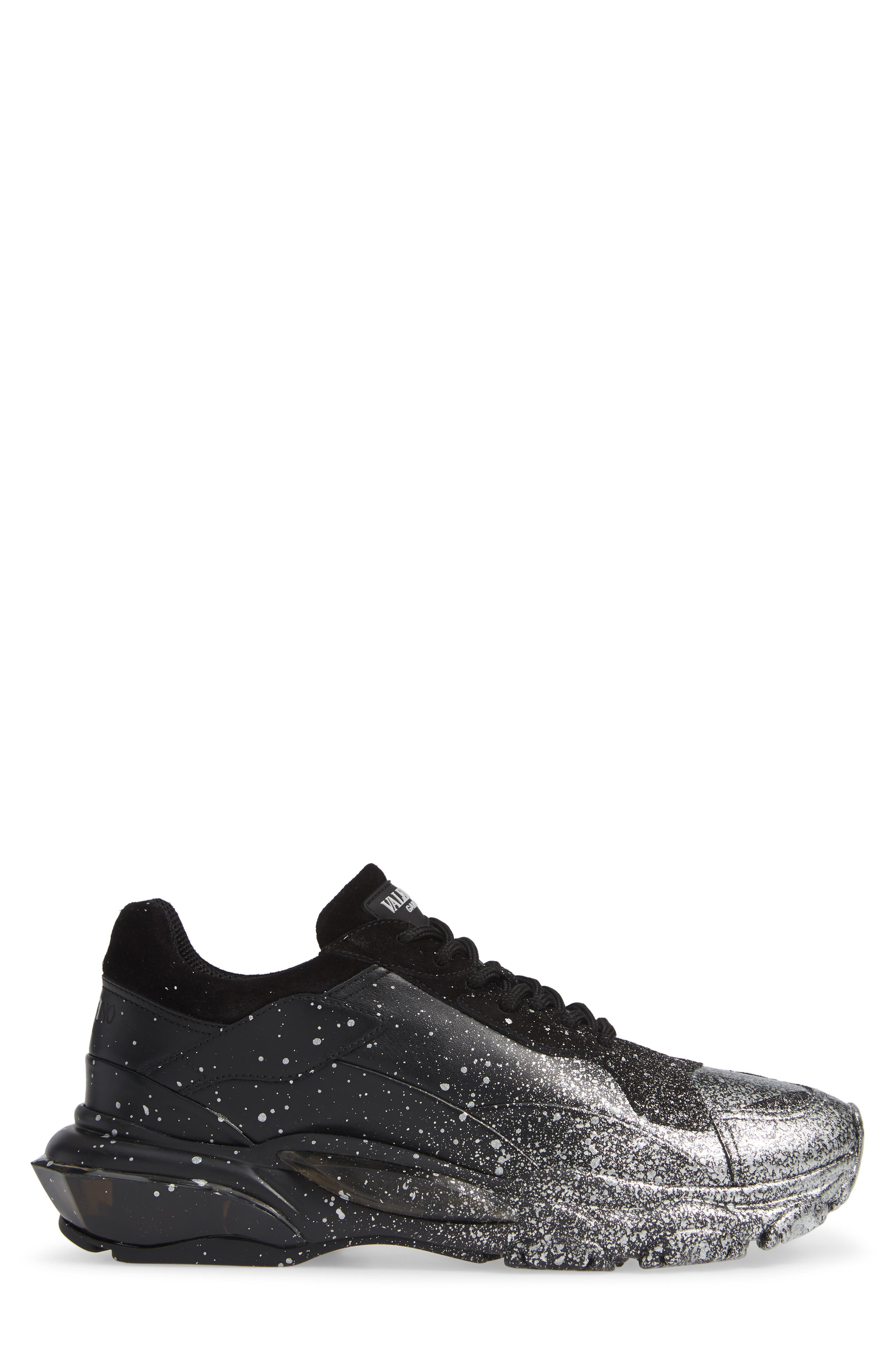 Bounce Paint Splatter Sneaker,                             Alternate thumbnail 3, color,                             BLACK/ SILVER