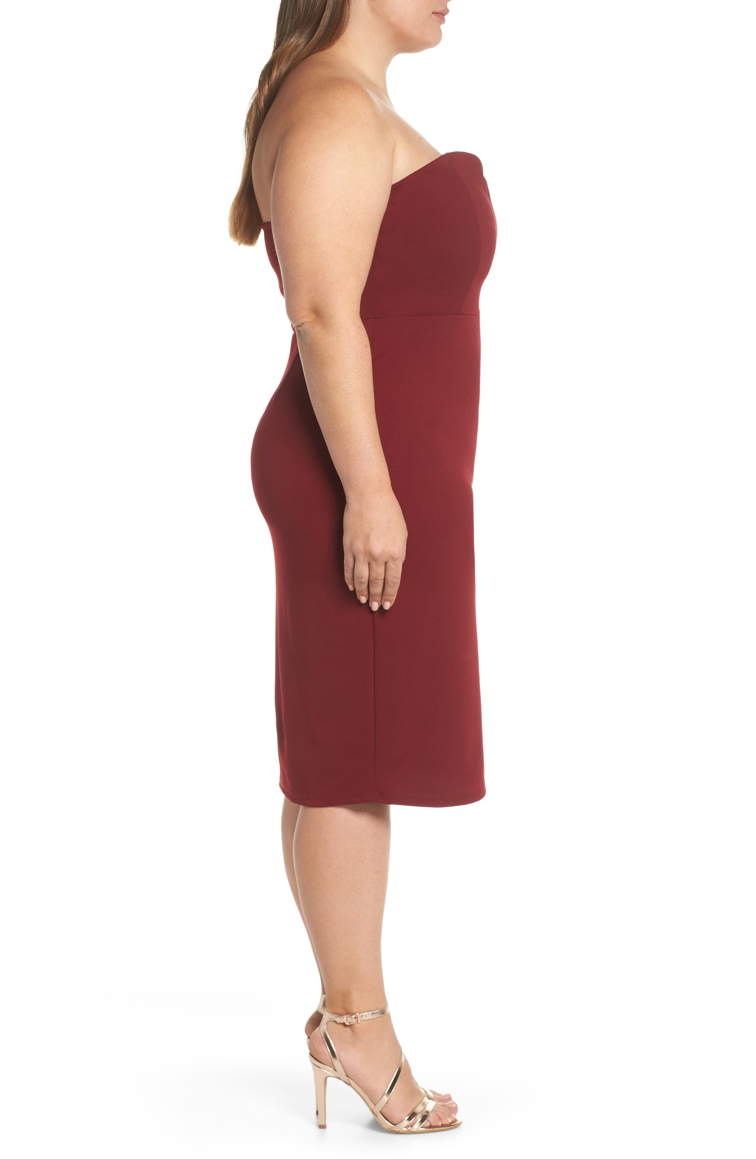 LEITH,                             Strapless Sheath Dress,                             Alternate thumbnail 3, color,                             RED GRAPE
