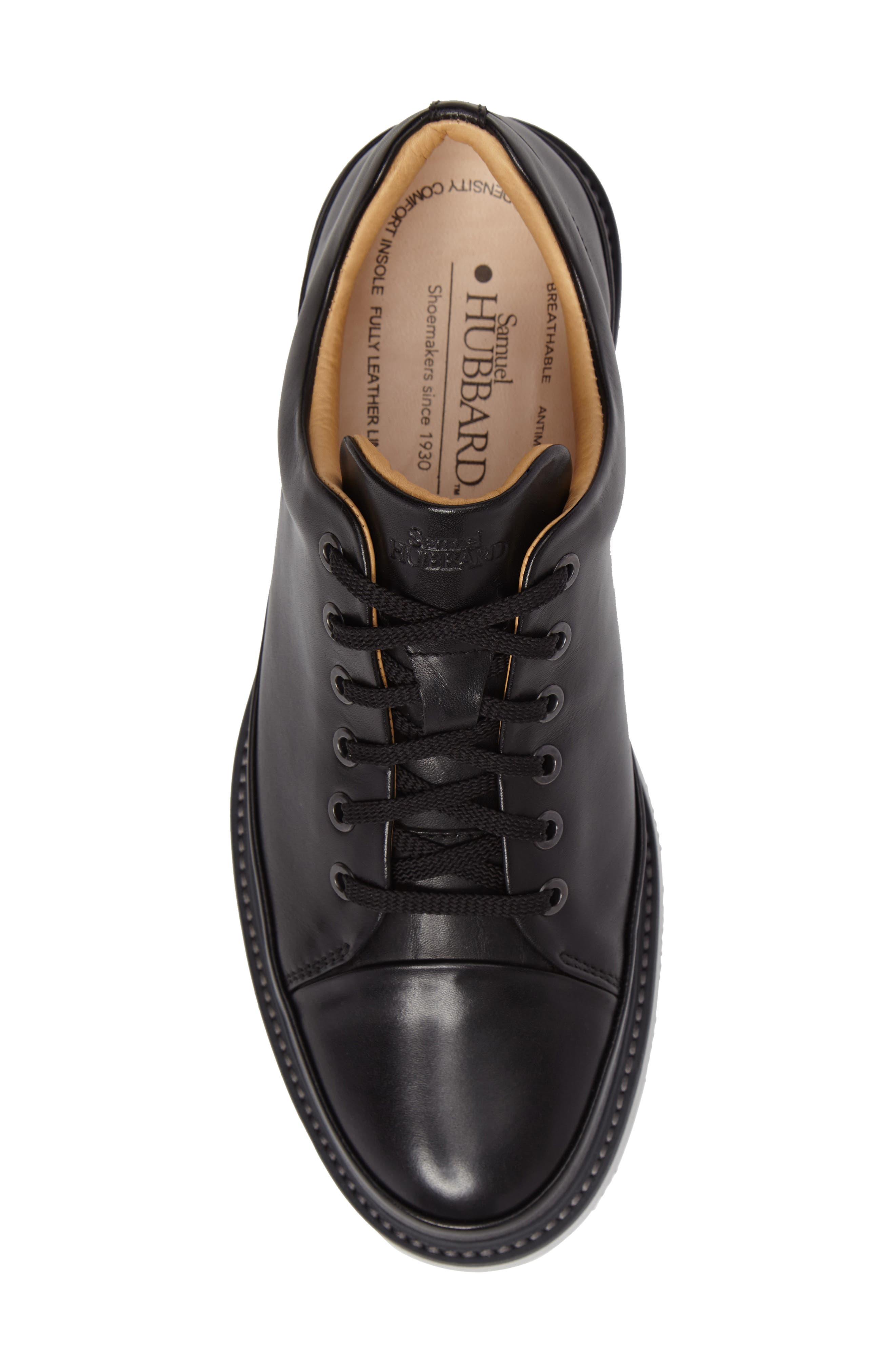 Sneaker,                             Alternate thumbnail 5, color,                             BLACK LEATHER