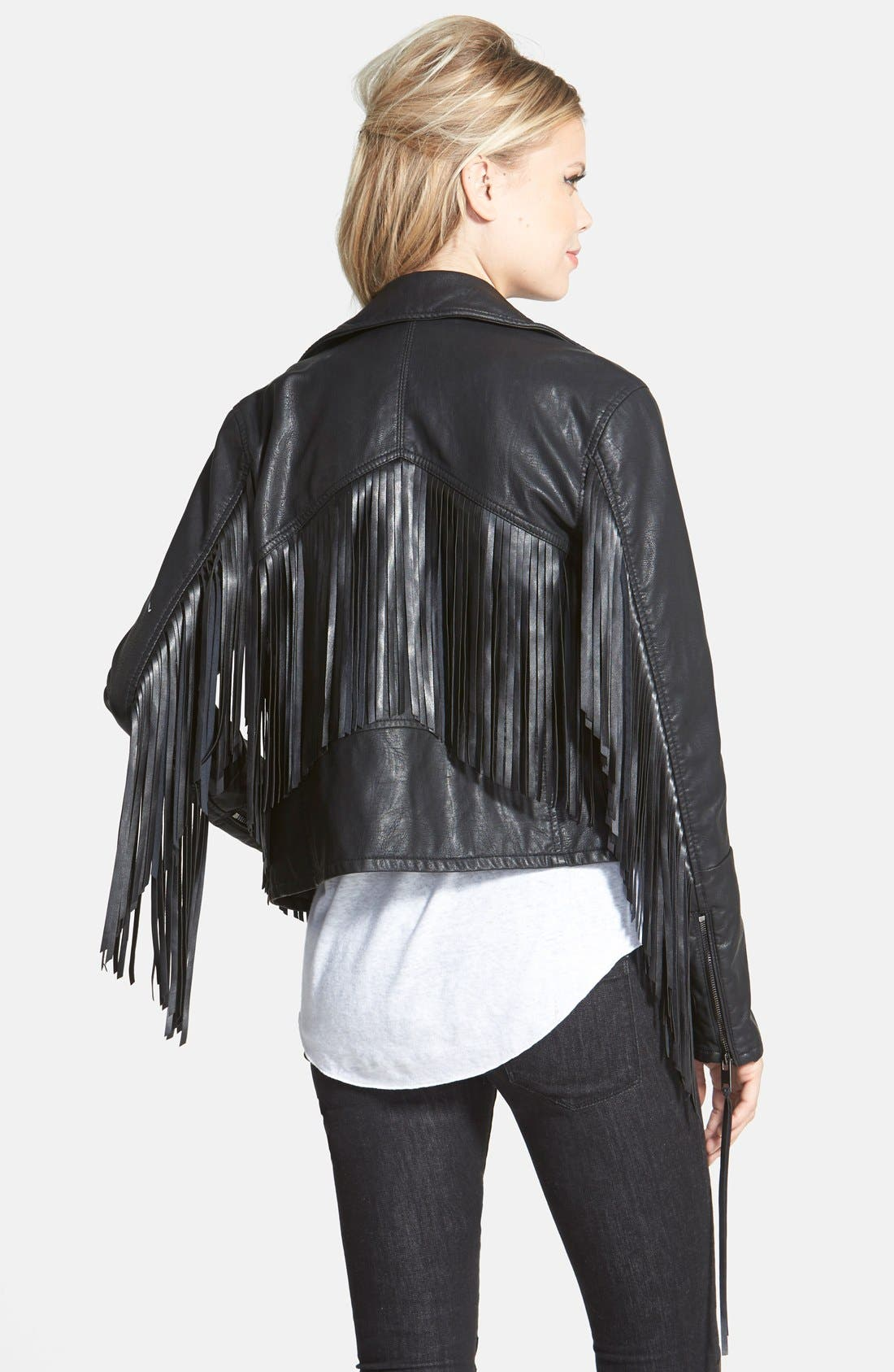 BLANKNYC,                             'Let It Ride' Faux Leather Jacket,                             Alternate thumbnail 3, color,                             001