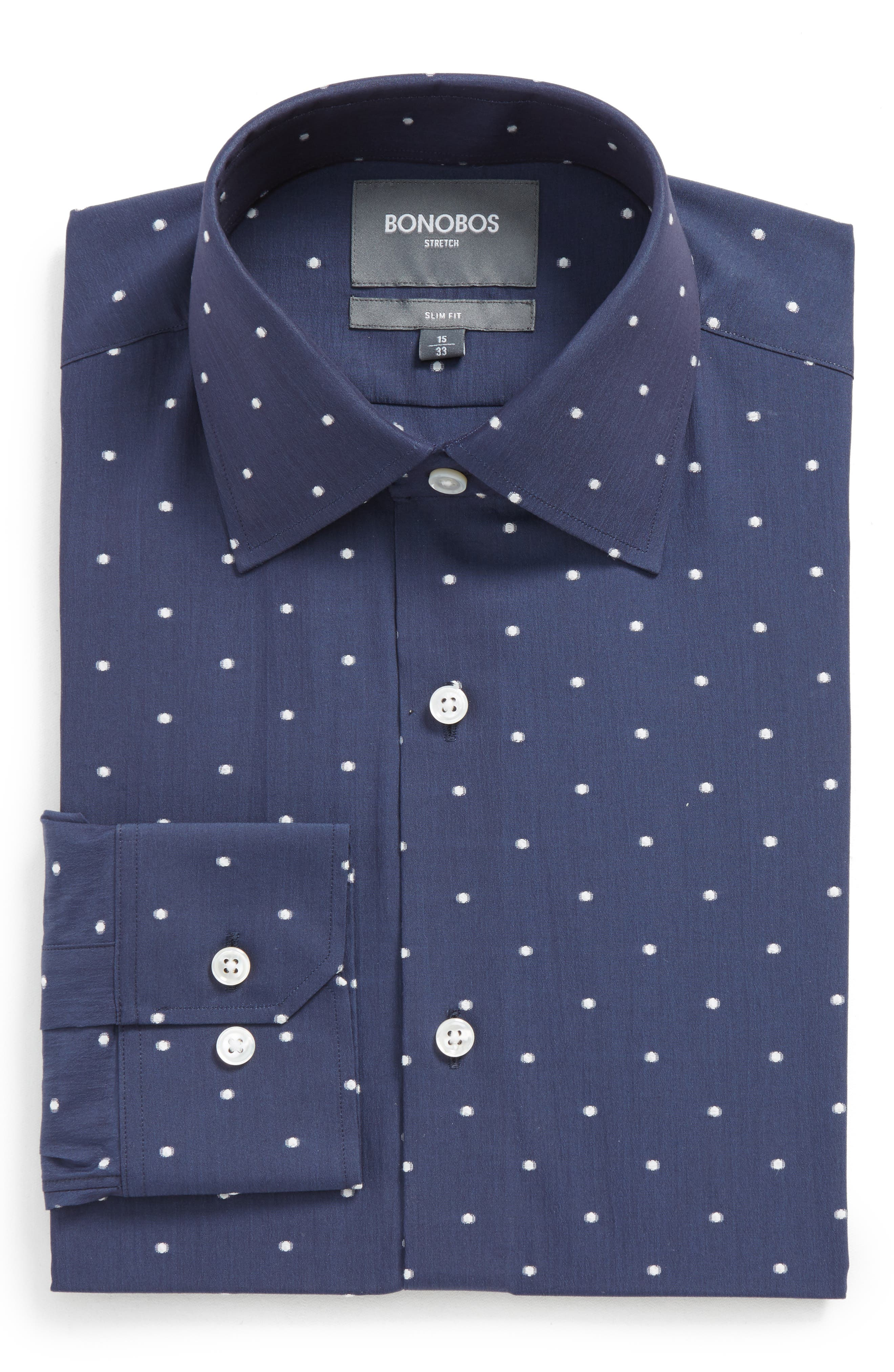 Slim Fit Dot Stretch Dress Shirt,                         Main,                         color, BLUE