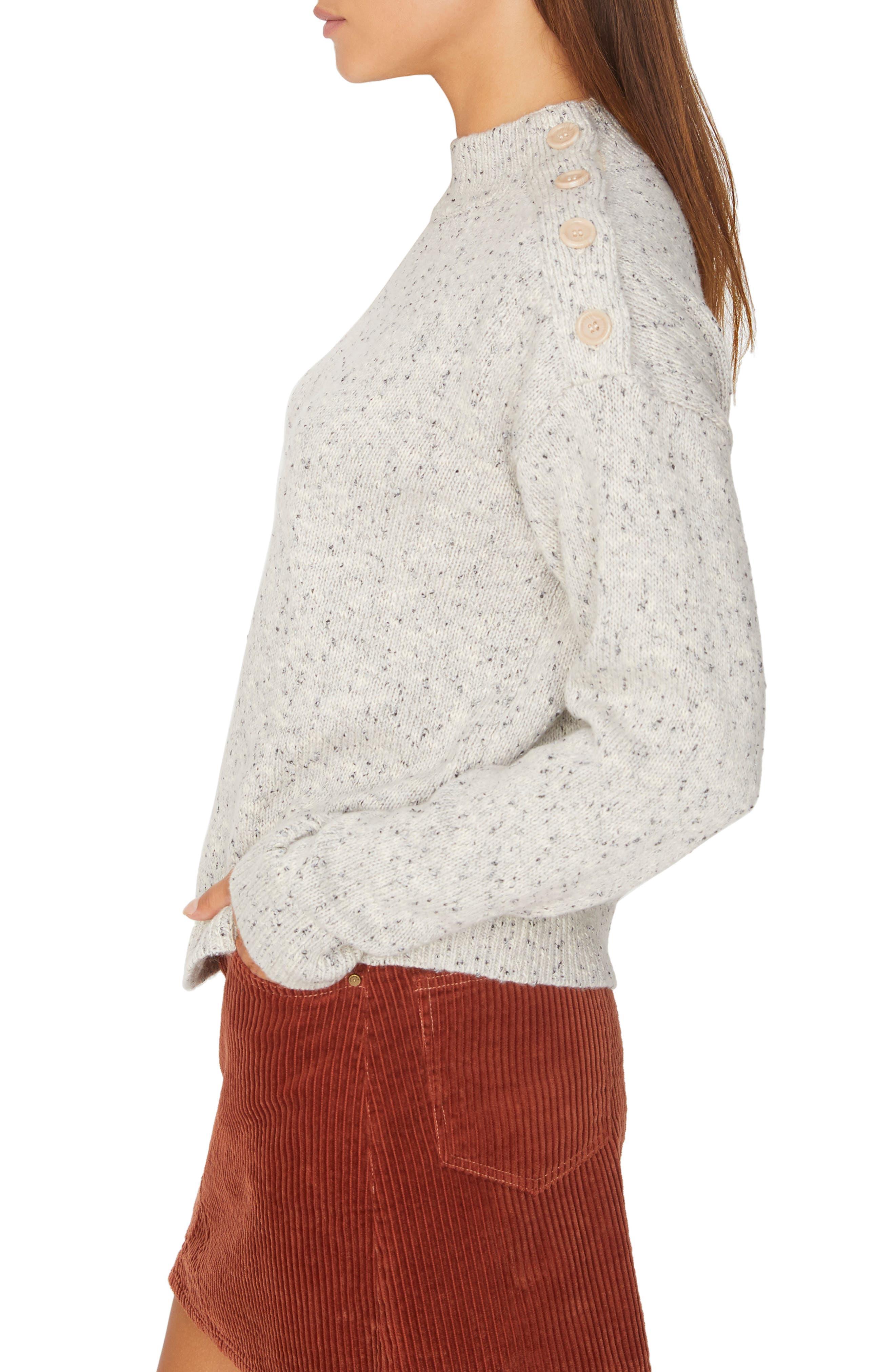 Jasper Button Detail Mock Neck Sweater,                             Alternate thumbnail 3, color,                             HEATHER STERLING