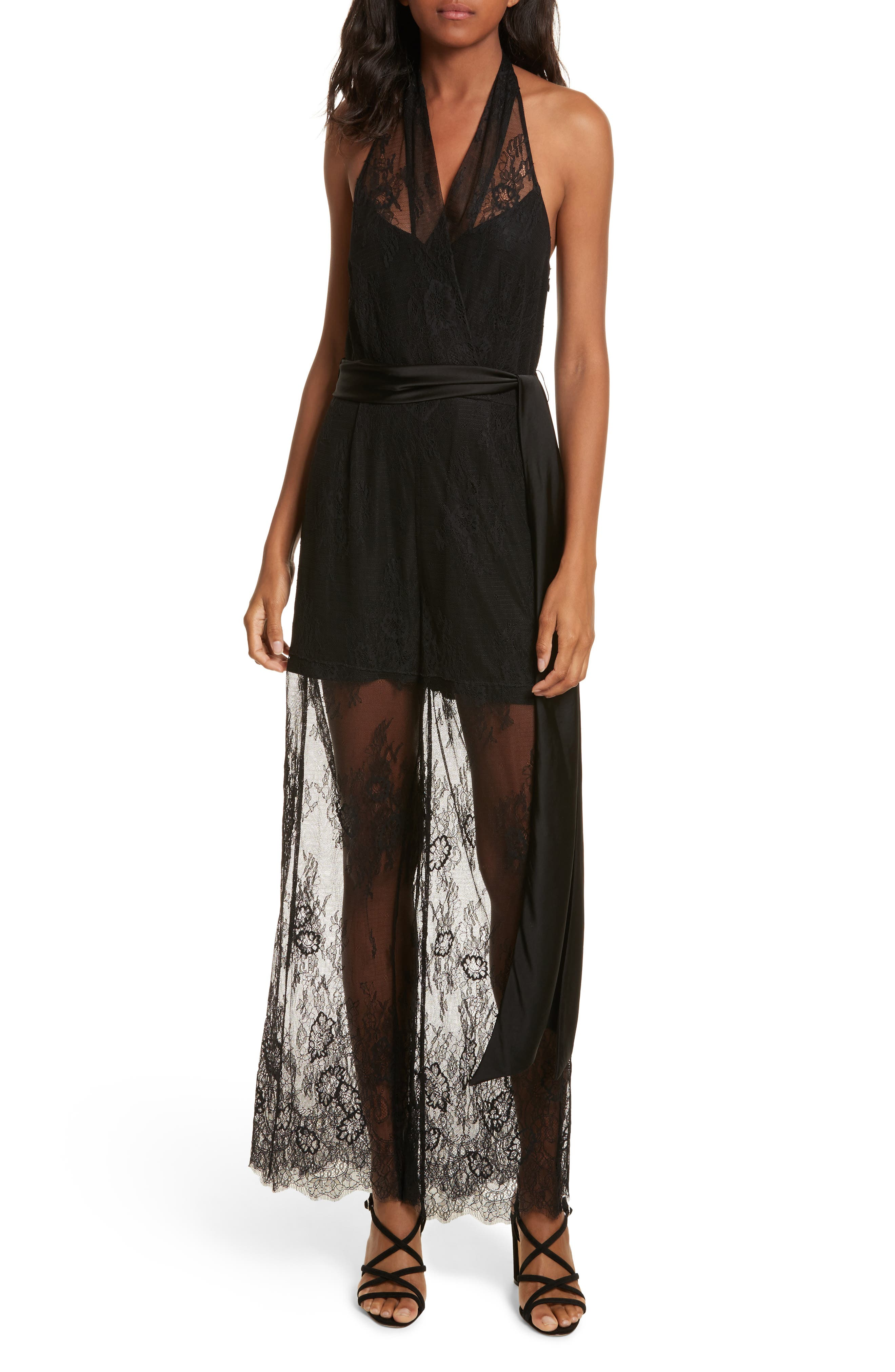 Diane von Furstenberg Halter Neck Lace Jumpsuit,                         Main,                         color, 001