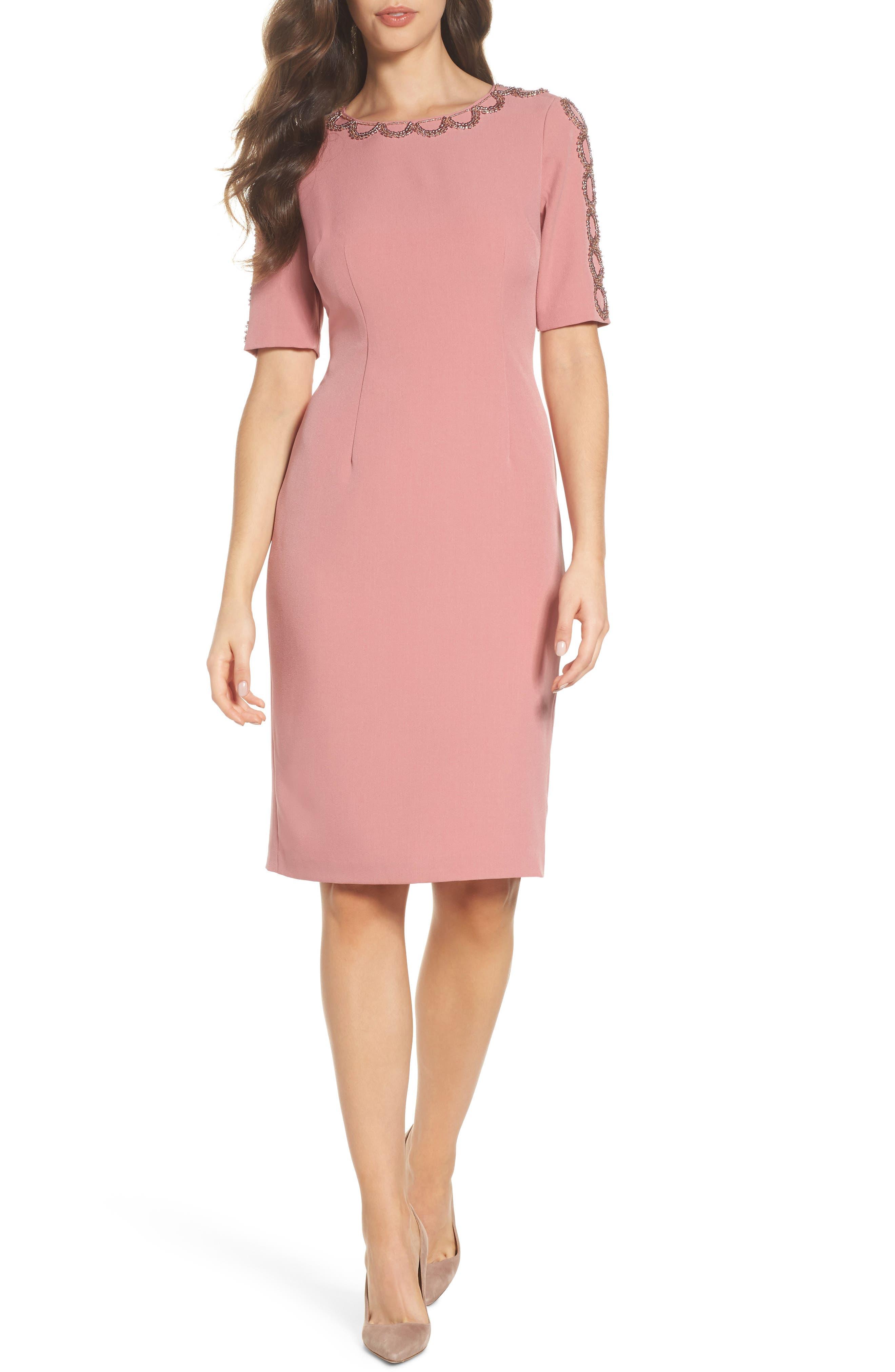 Embellished Sheath Dress,                             Main thumbnail 1, color,