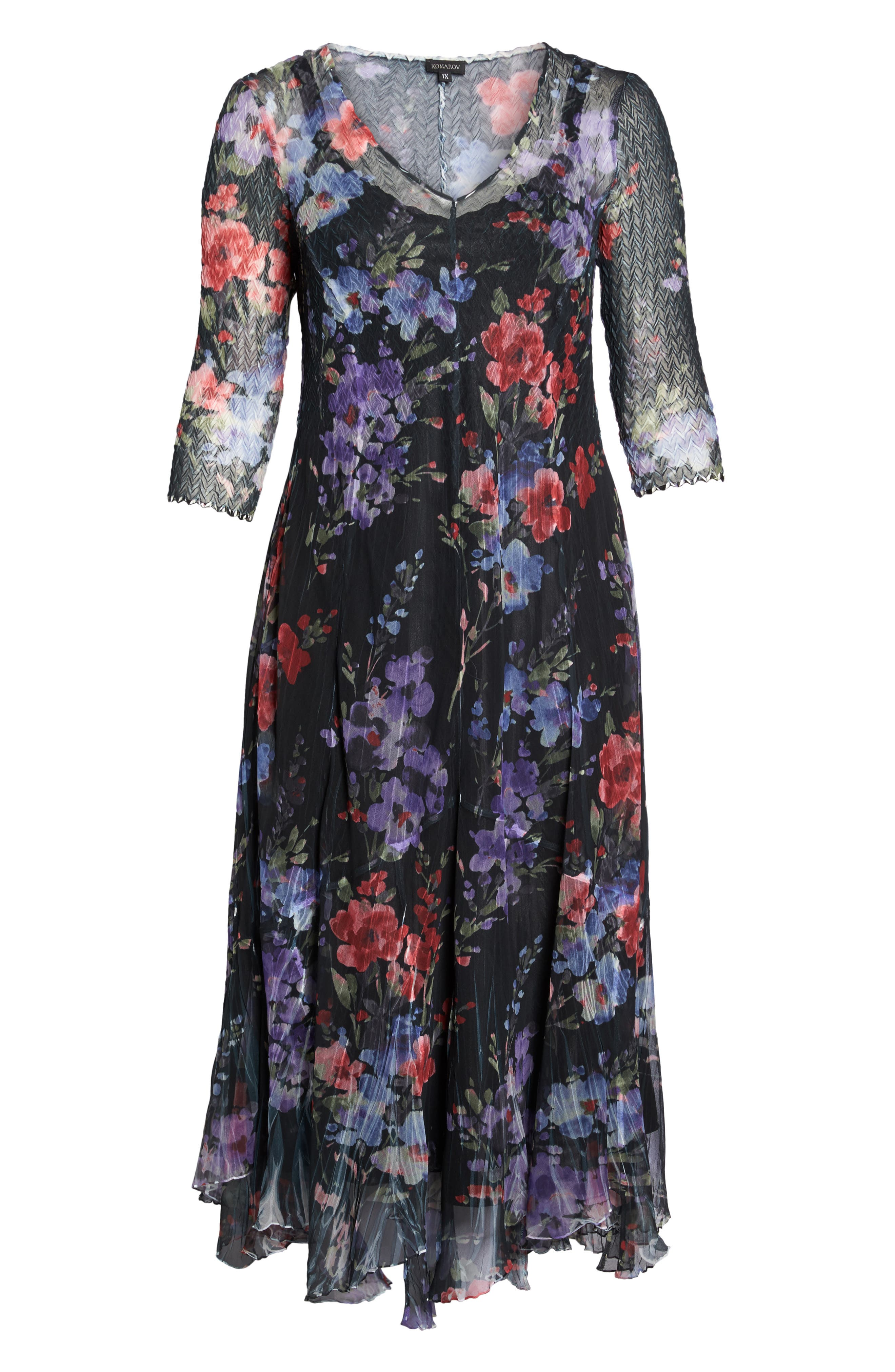 Lace & Charmeuse Floral Print Maxi Dress,                             Alternate thumbnail 6, color,                             400
