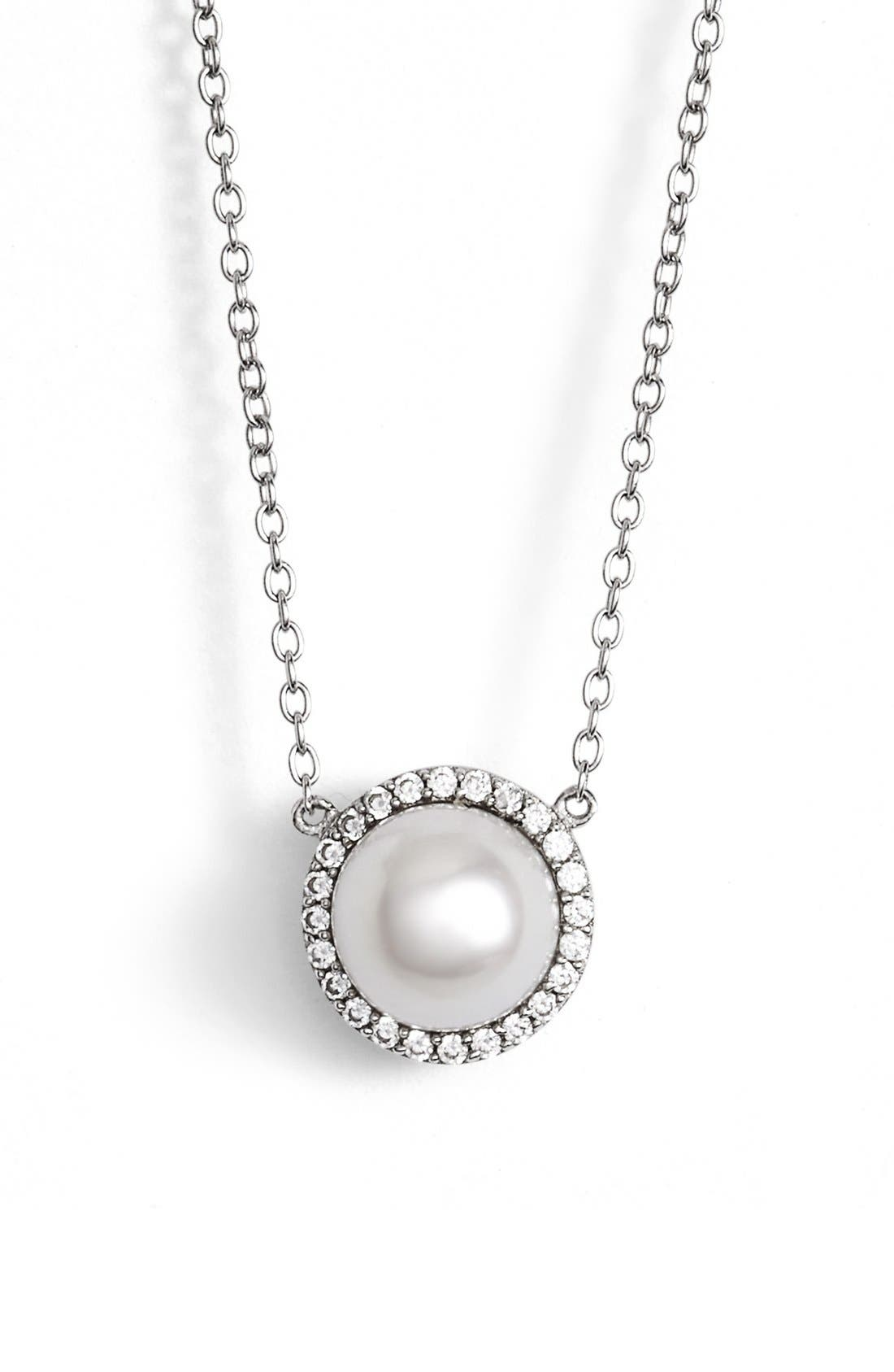 'Lassaire' Pearl Pendant Necklace,                             Main thumbnail 1, color,                             SILVER/ CLEAR