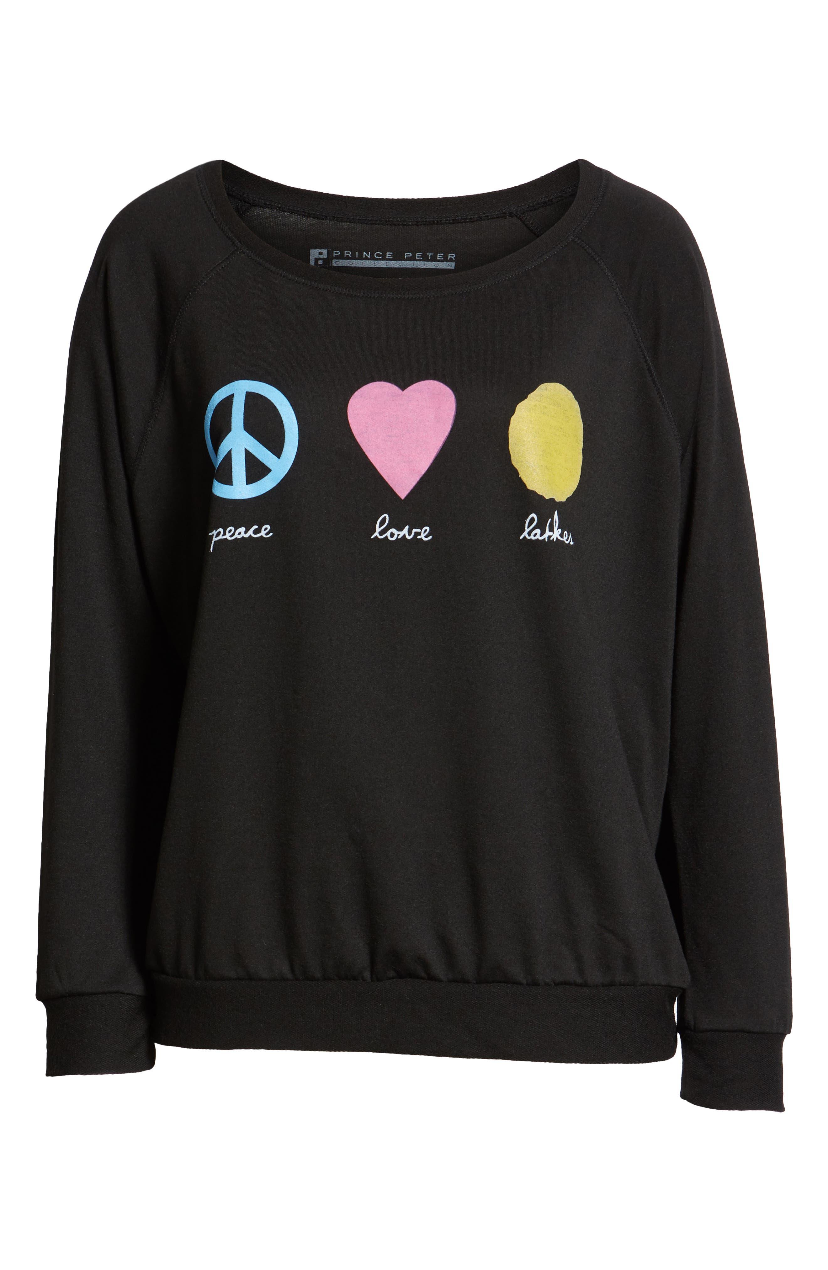 Peace Love Latkes Pullover,                             Alternate thumbnail 6, color,                             BLACK