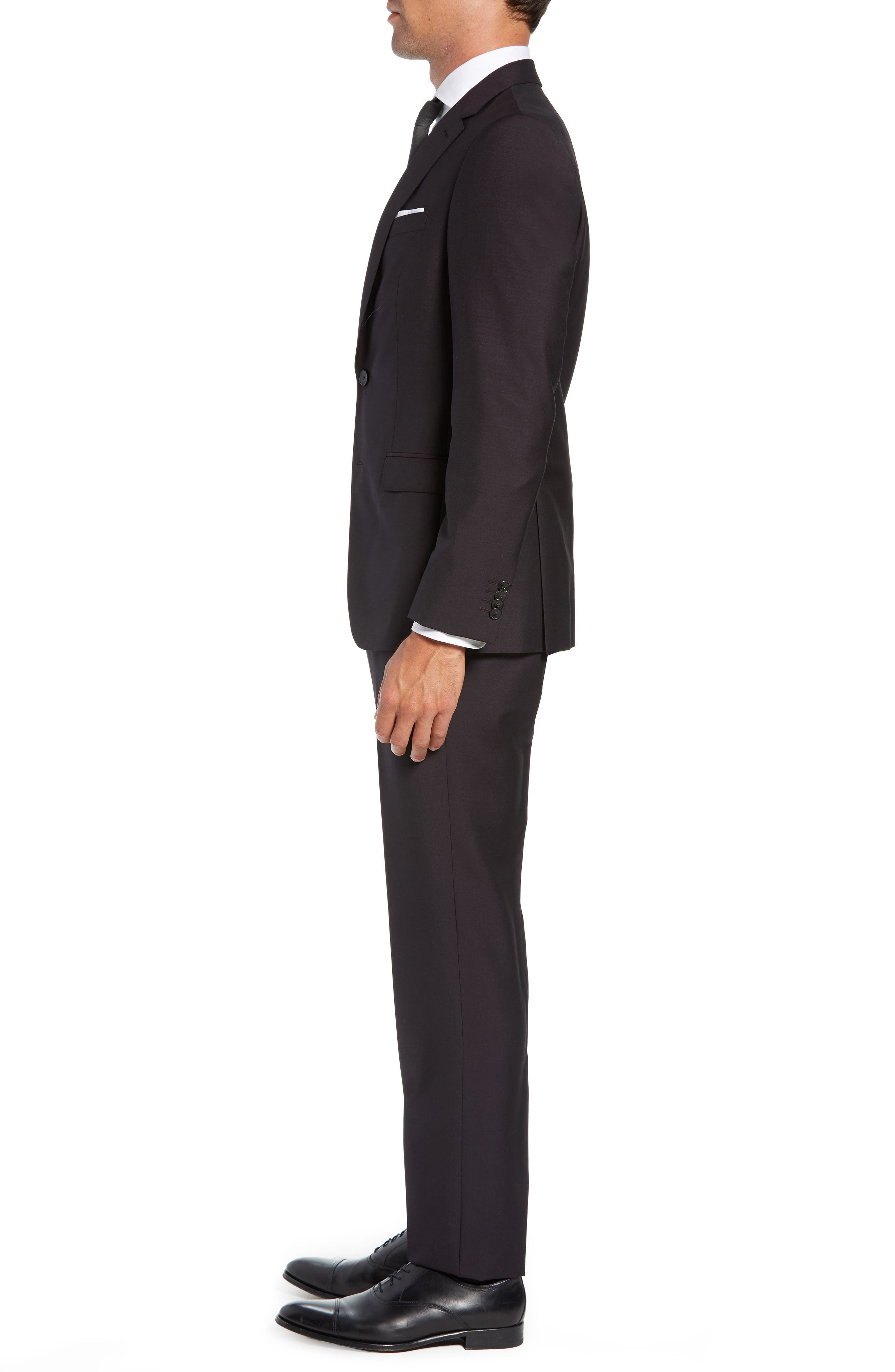 Novan/Ben Trim Fit Solid Wool & Mohair Suit,                             Alternate thumbnail 3, color,                             DARK PURPLE