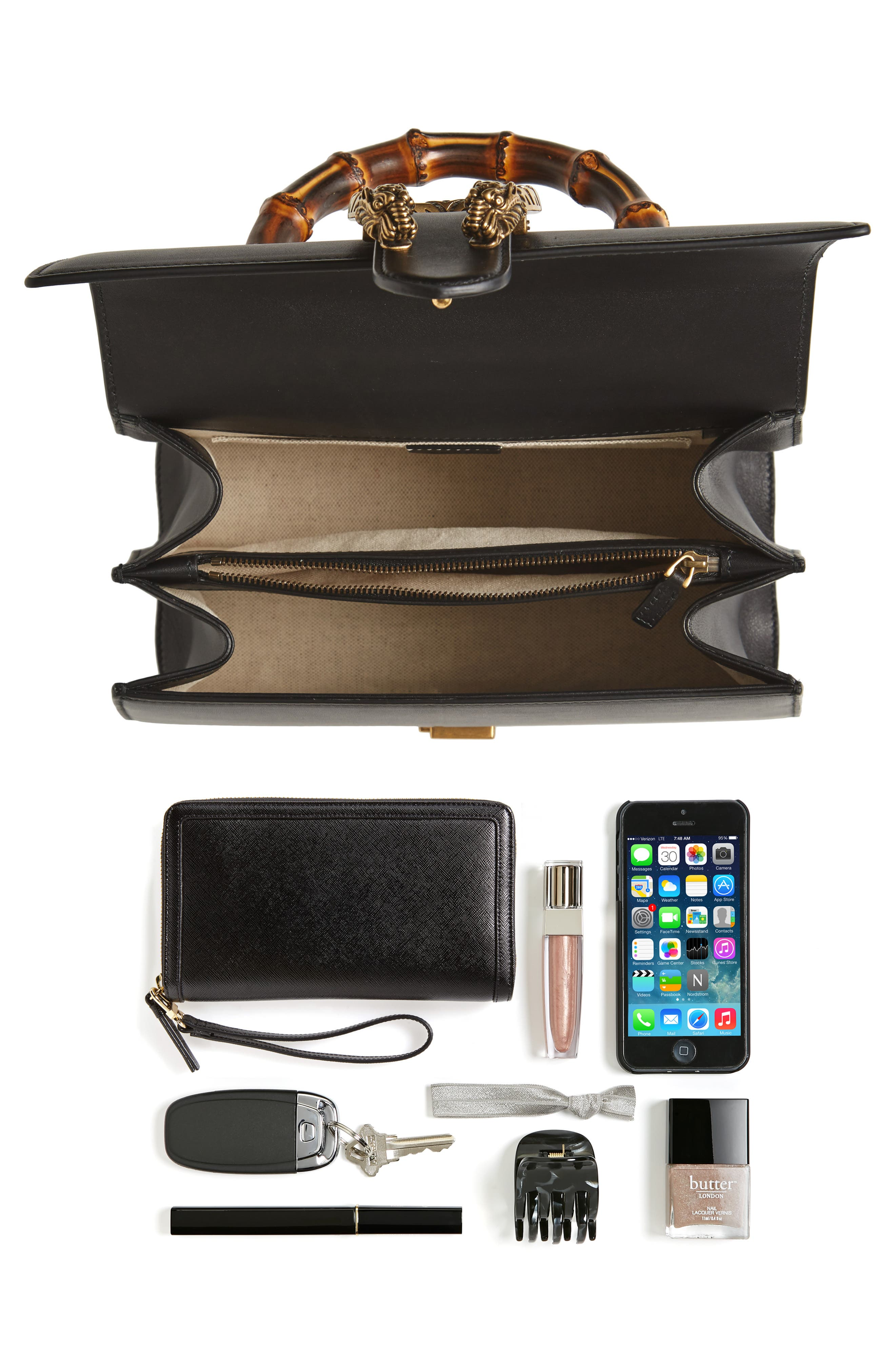 Large Dionysus Top Handle Leather Shoulder Bag,                             Alternate thumbnail 7, color,                             001